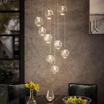 Lucande Hayley -LED-riippuvalo, 9-lamp., kromattu