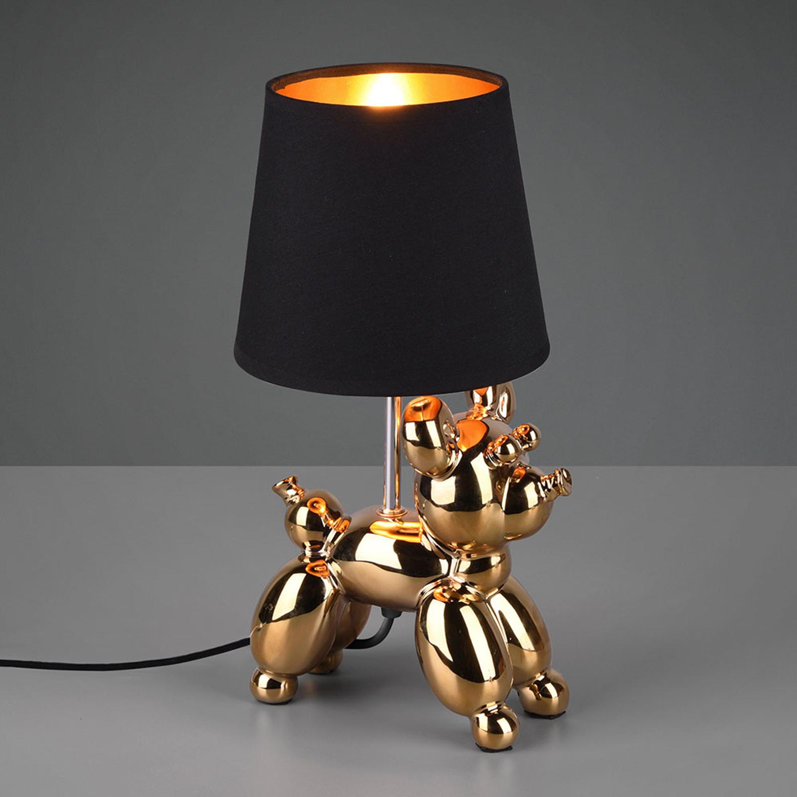 Tafellamp Bello met hond-figuur, zwart/goud