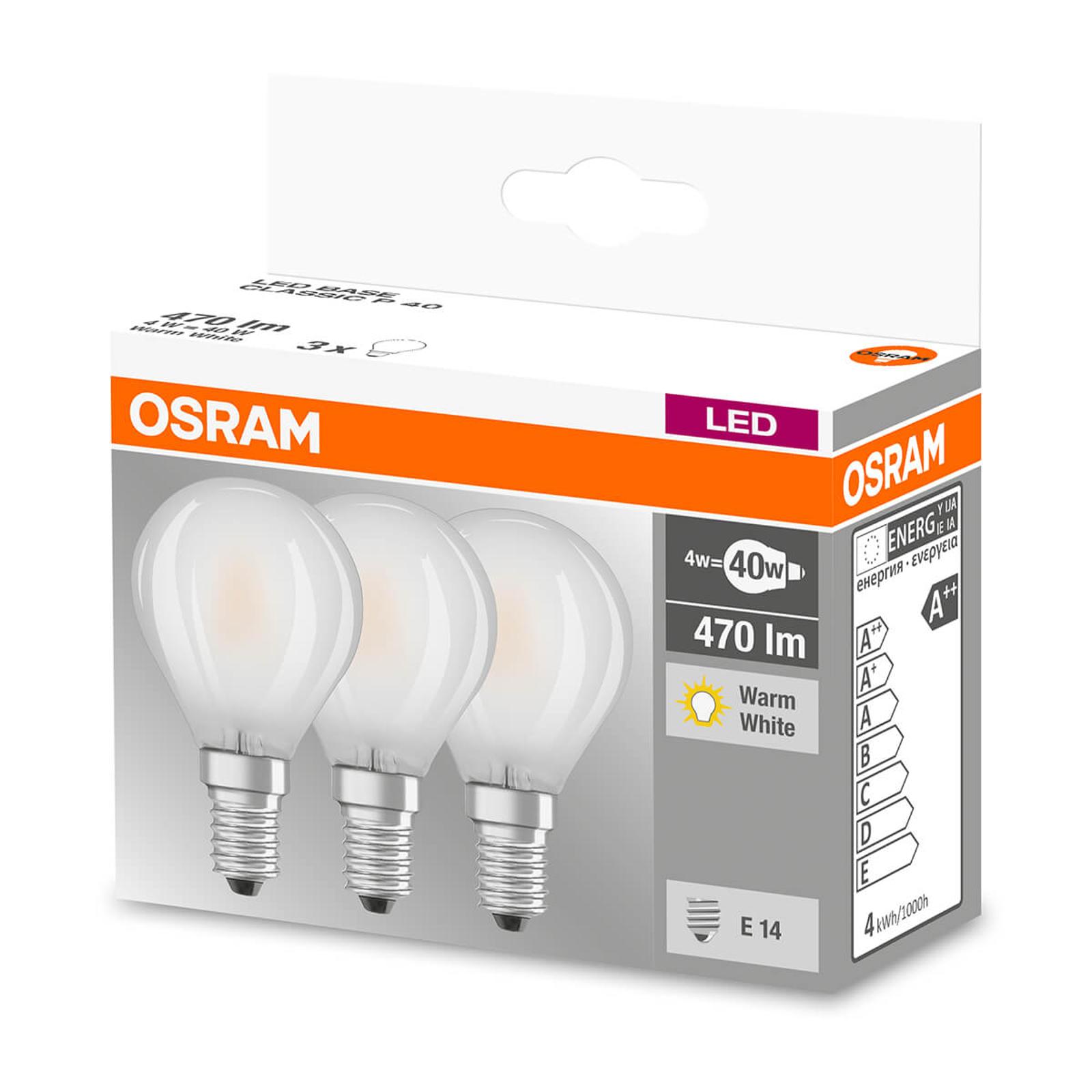 Żarówka LED E14 4W ciepła biel 470 lumenów, 3 szt.