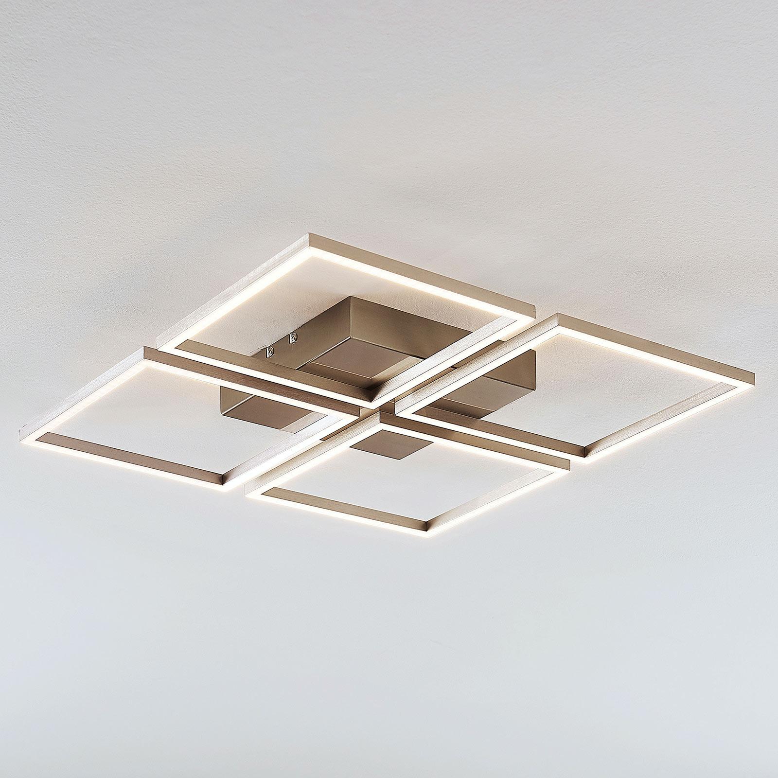 Plafonnier LED Quadra, dimmable, 4 lampes, 52,5cm