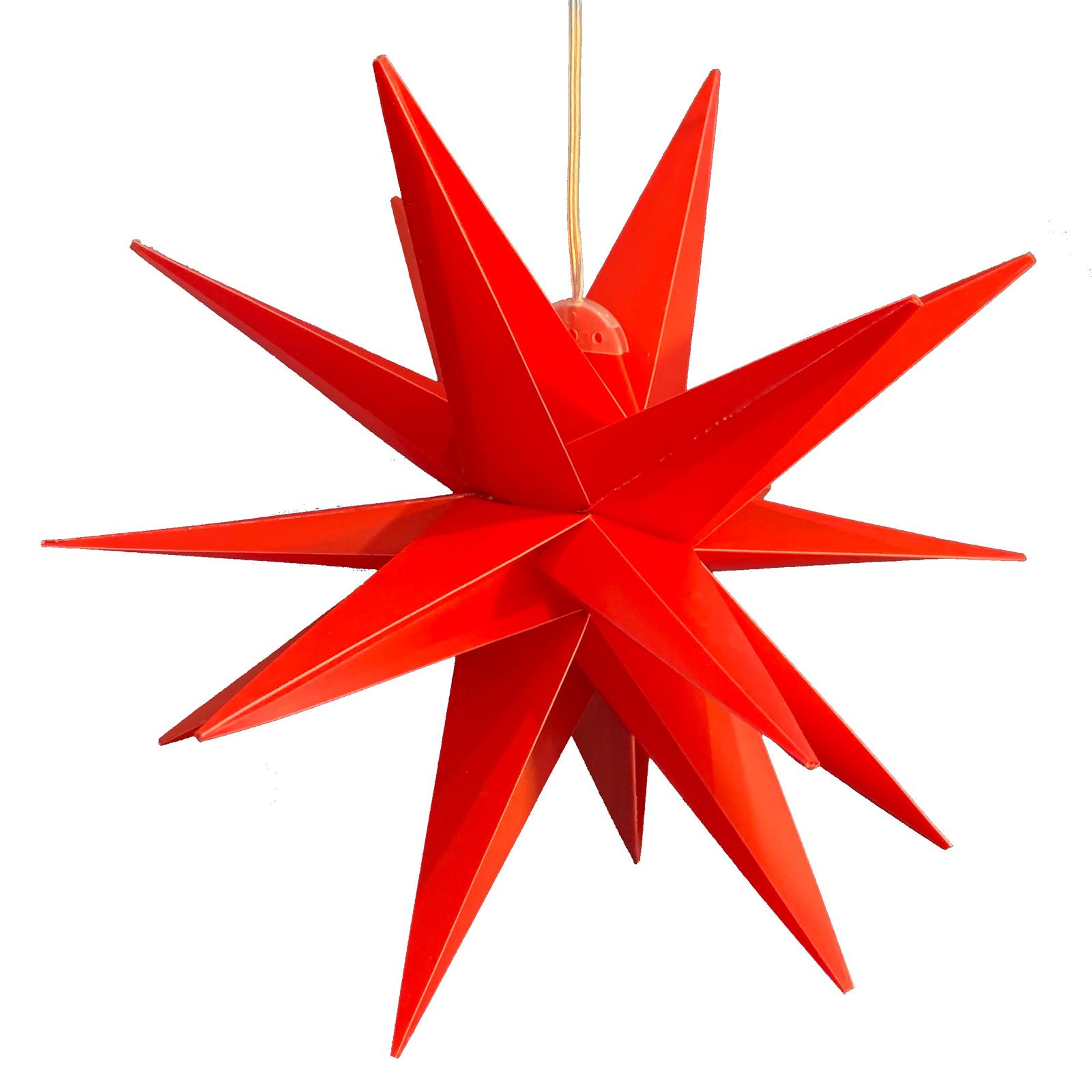LED-dekorasjonstjerne, 18-spisser, Ø 25 cm, rød