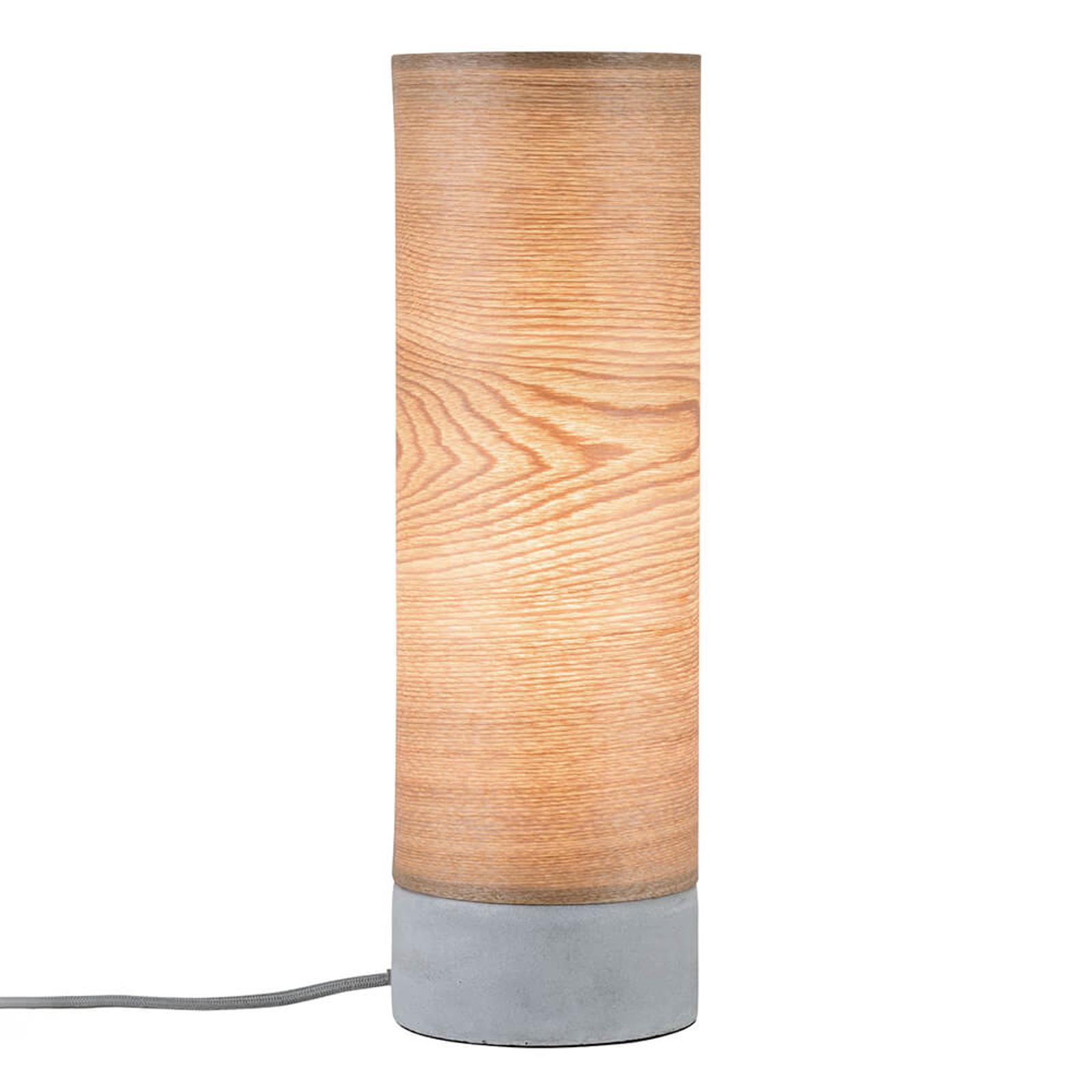 Cylindrisk bordlampe Skadi i træ med betonfod