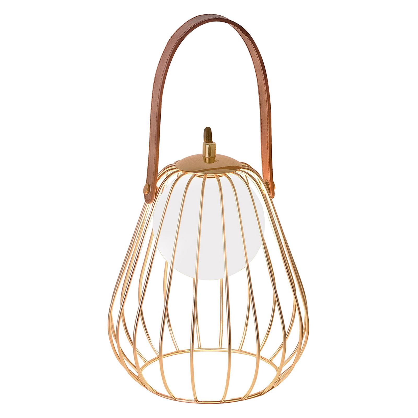Lampa stołowa Levik z złotą klatką