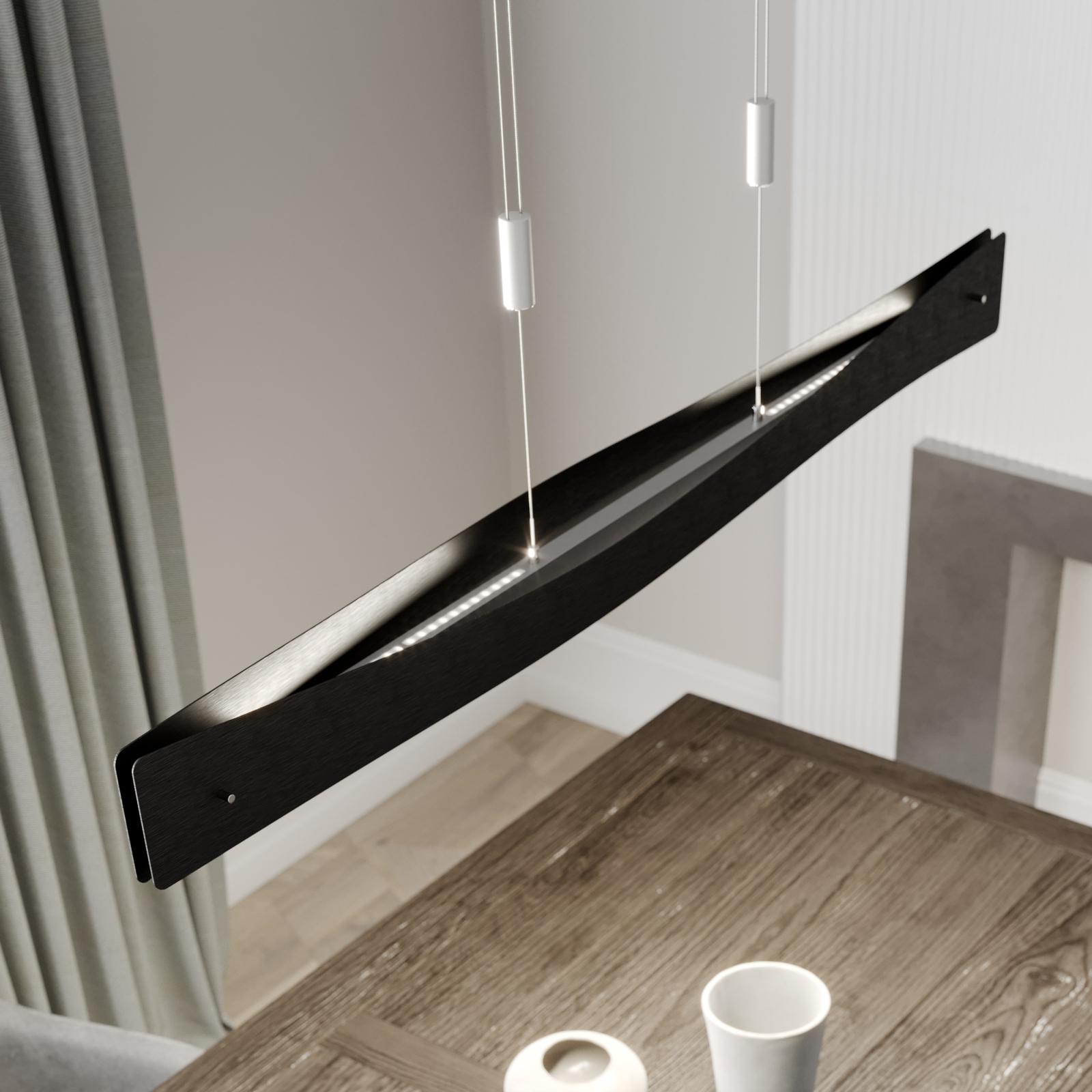 Lucande Lian LED-hengelampe, svart, aluminium