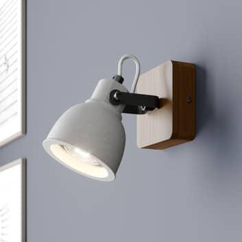 Lindby Mirka spot LED en bois et béton