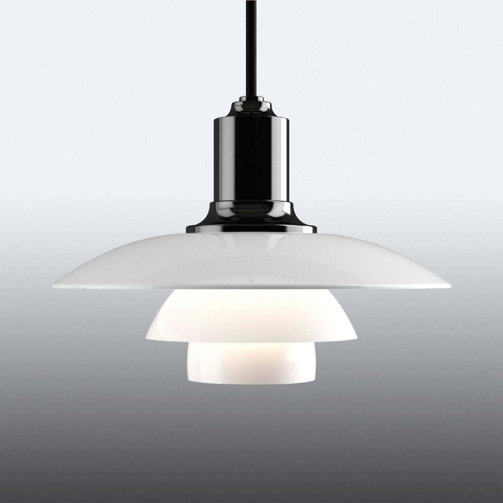 Hanglamp PH 2/1 m. drievoudige glazen kap, zwart