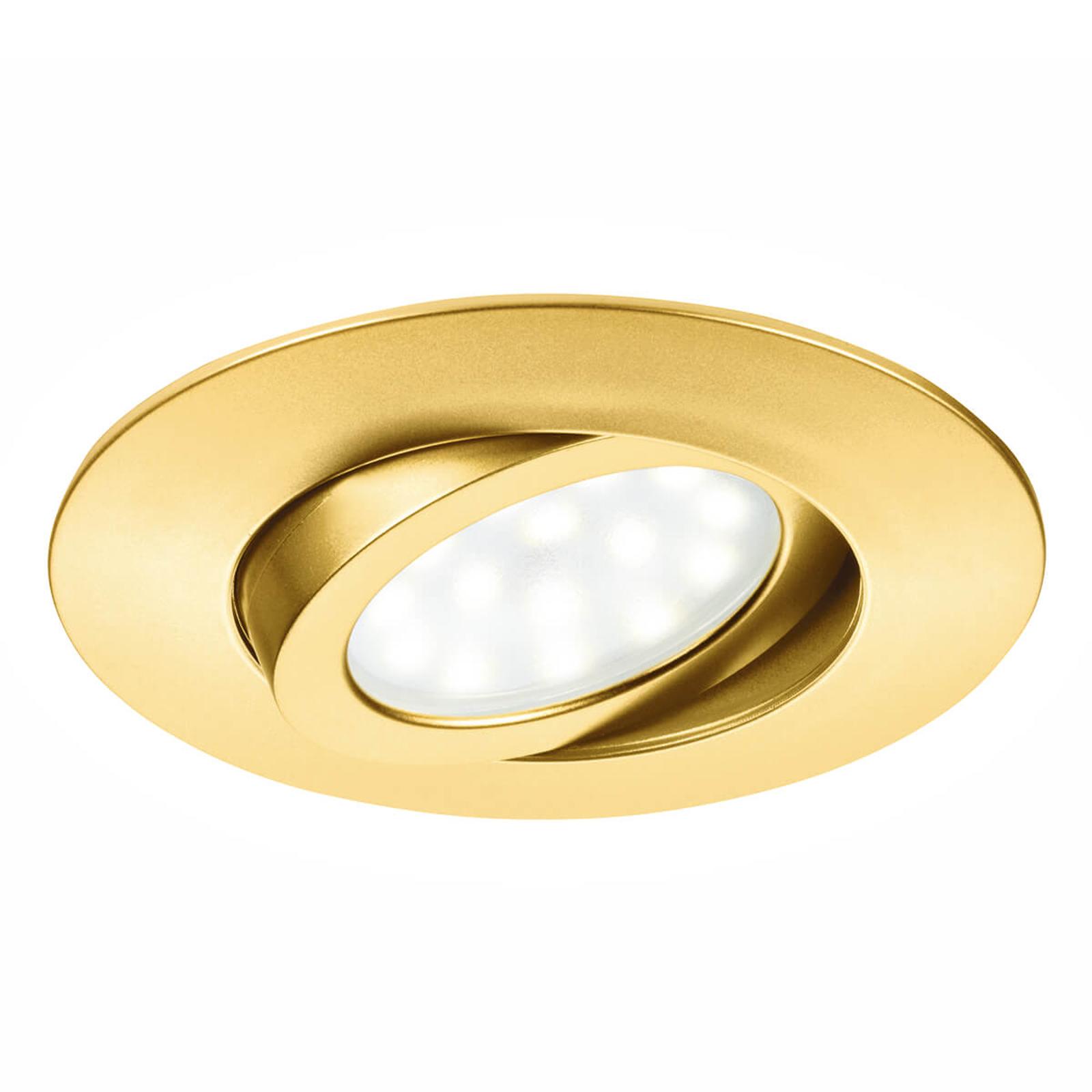 Guldfarvet LED indbygningsspot Zenit med IP44