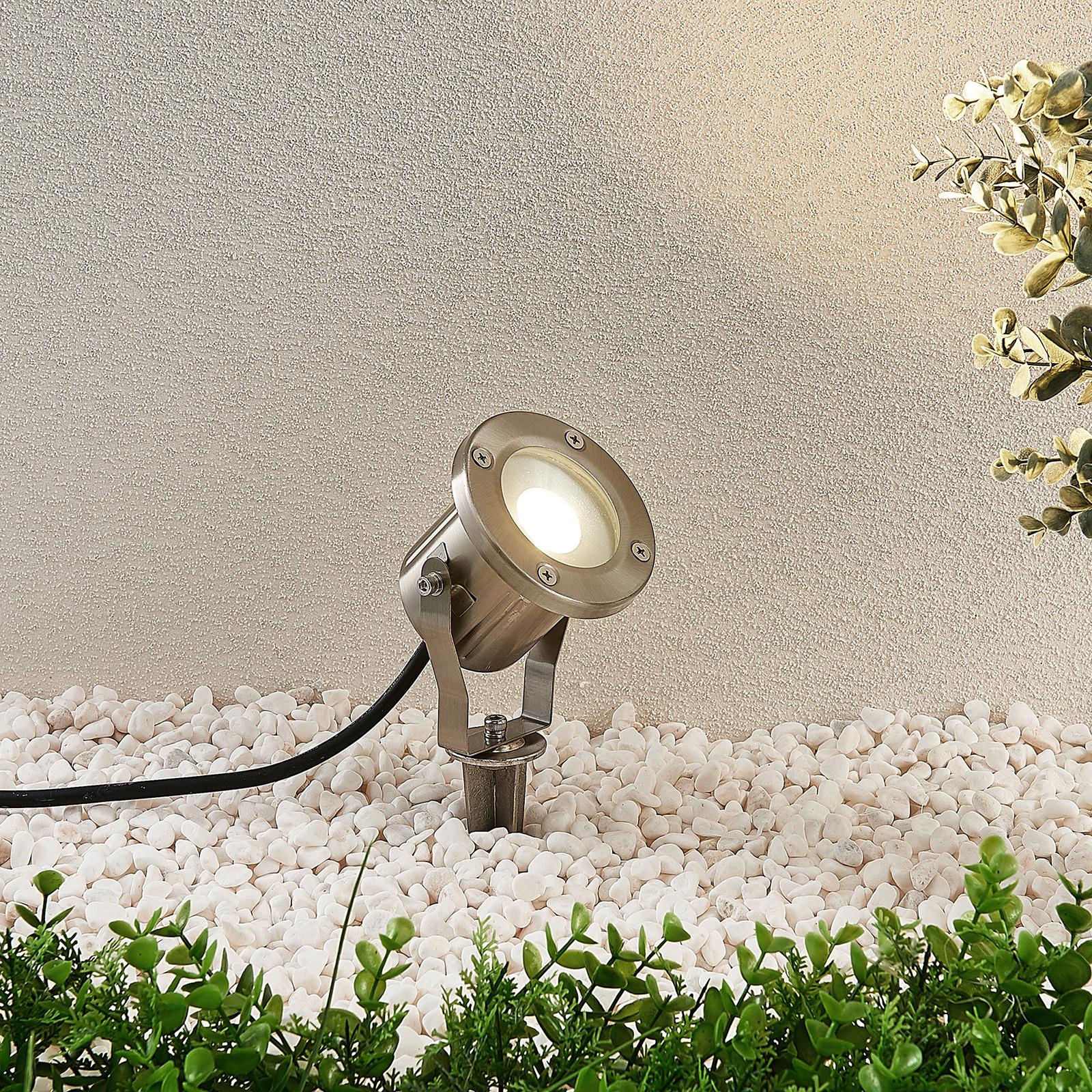 LED-Außenstrahler Mathis, Erdspieß, IP65 Edelstahl