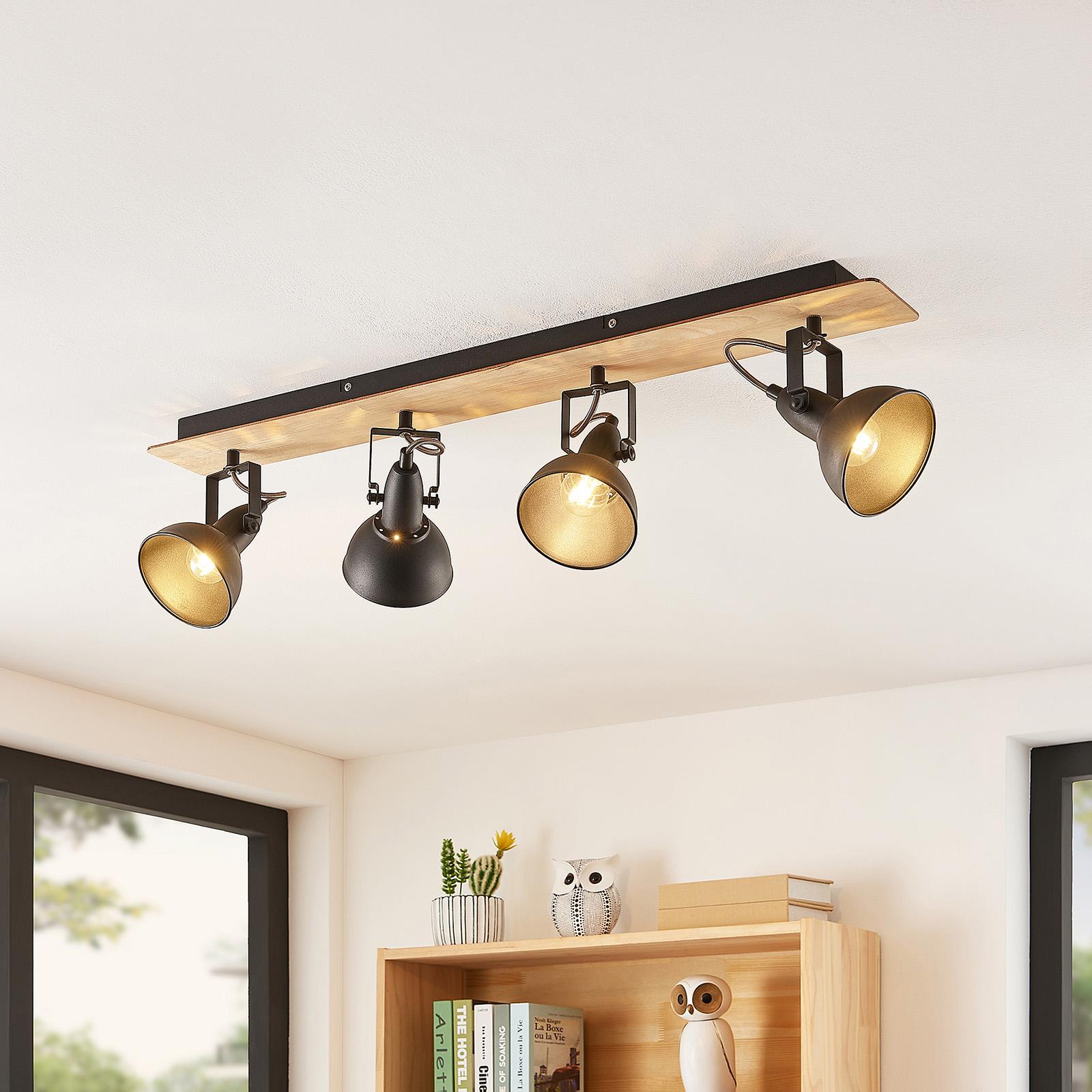 Lindby Aylis plafonnier, noir, bois, 4 lampes