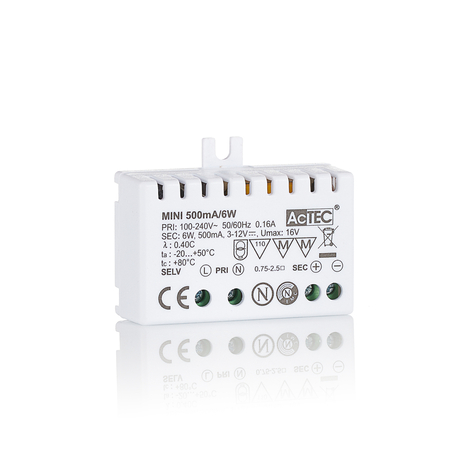 AcTEC Mini LED driver CC 500mA, 6W, IP20