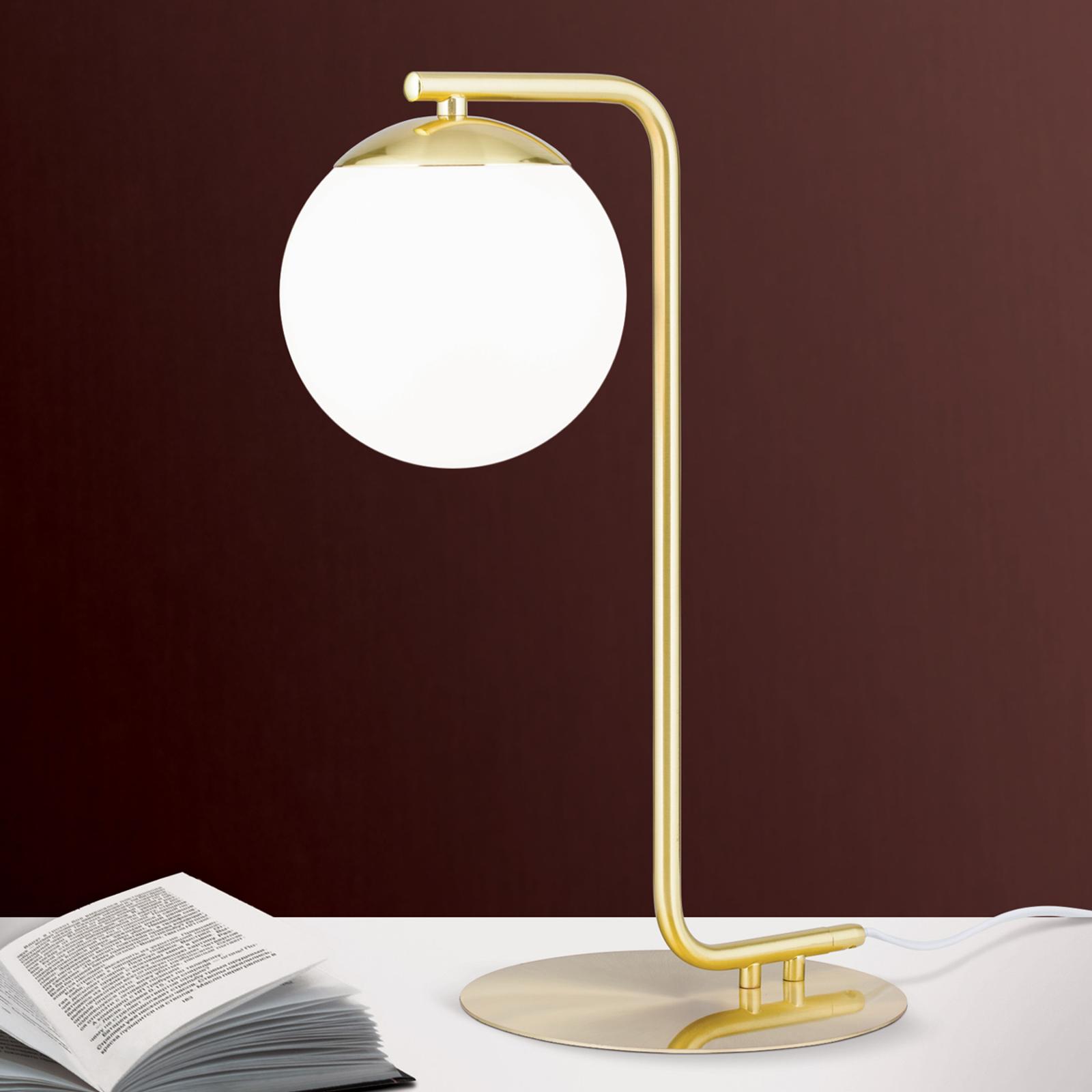 Lampa stołowa Madis z kulistym kloszem ze szkła