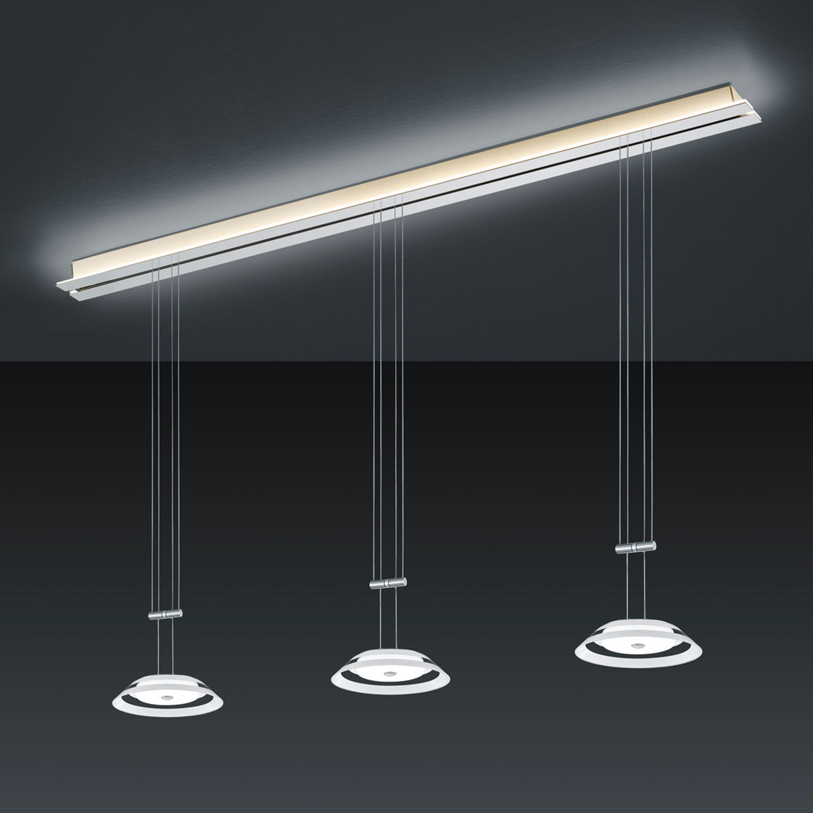 BANKAMP Strada Callas suspension, 3 lampes, 155 cm