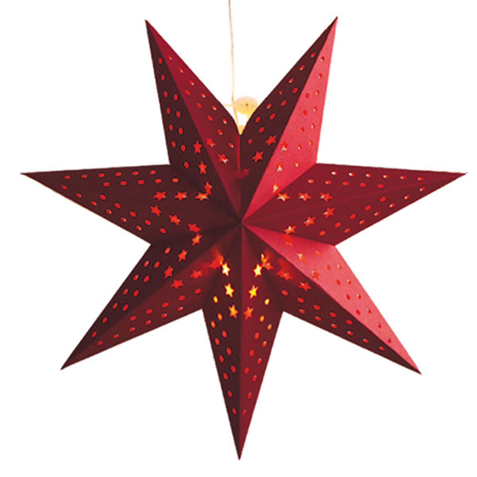 Hullmønster snøfnugg - LED-stjerne Cellcandle rød