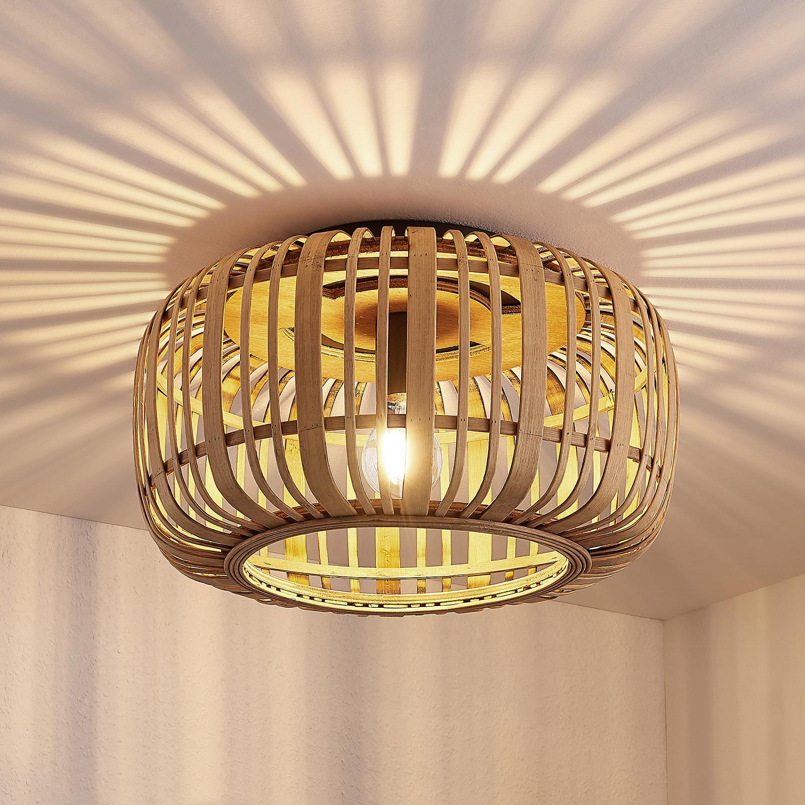 Lindby Canyana stropní světlo z ratanu, přírodní