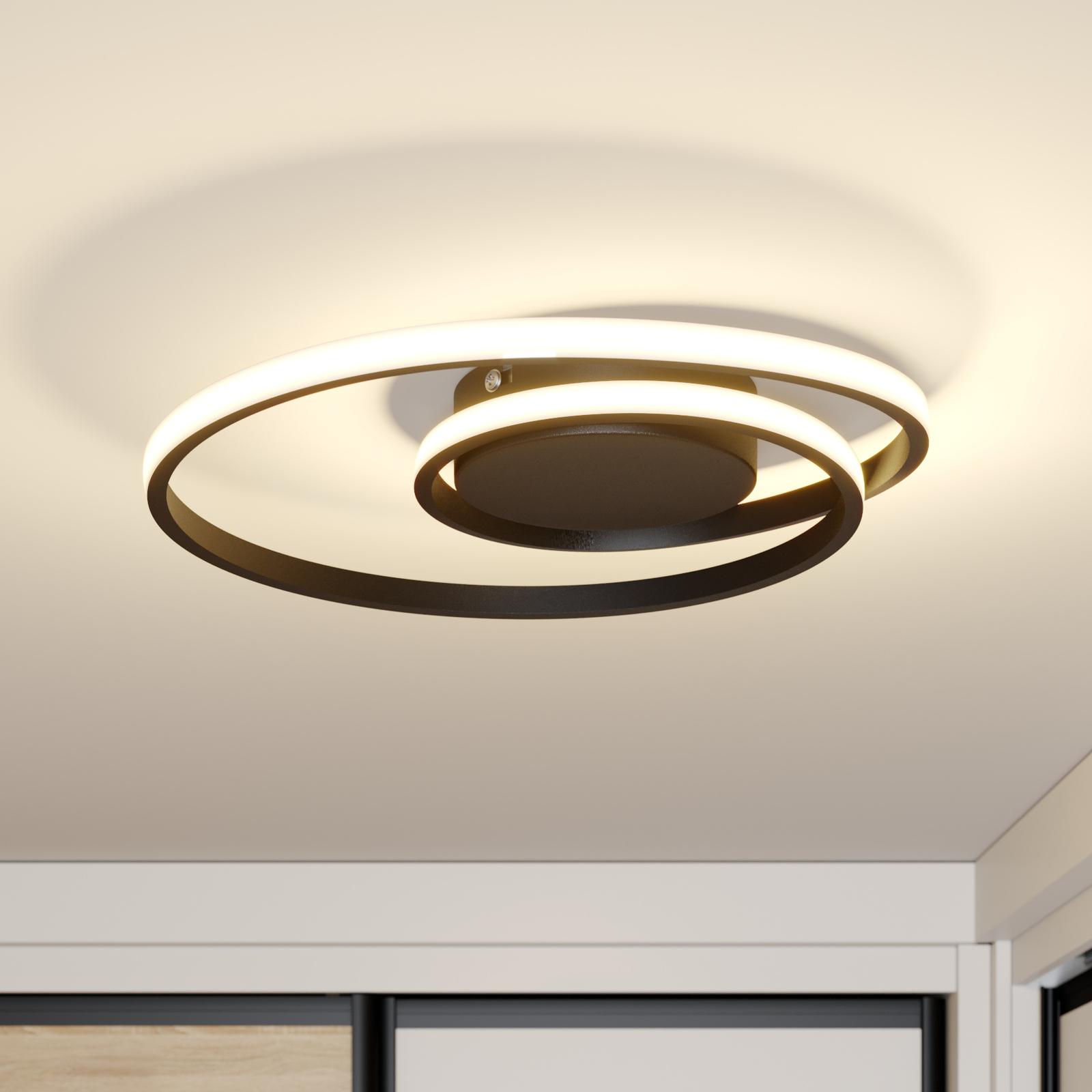 Lindby Kyron LED-Deckenlampe, schwarz matt