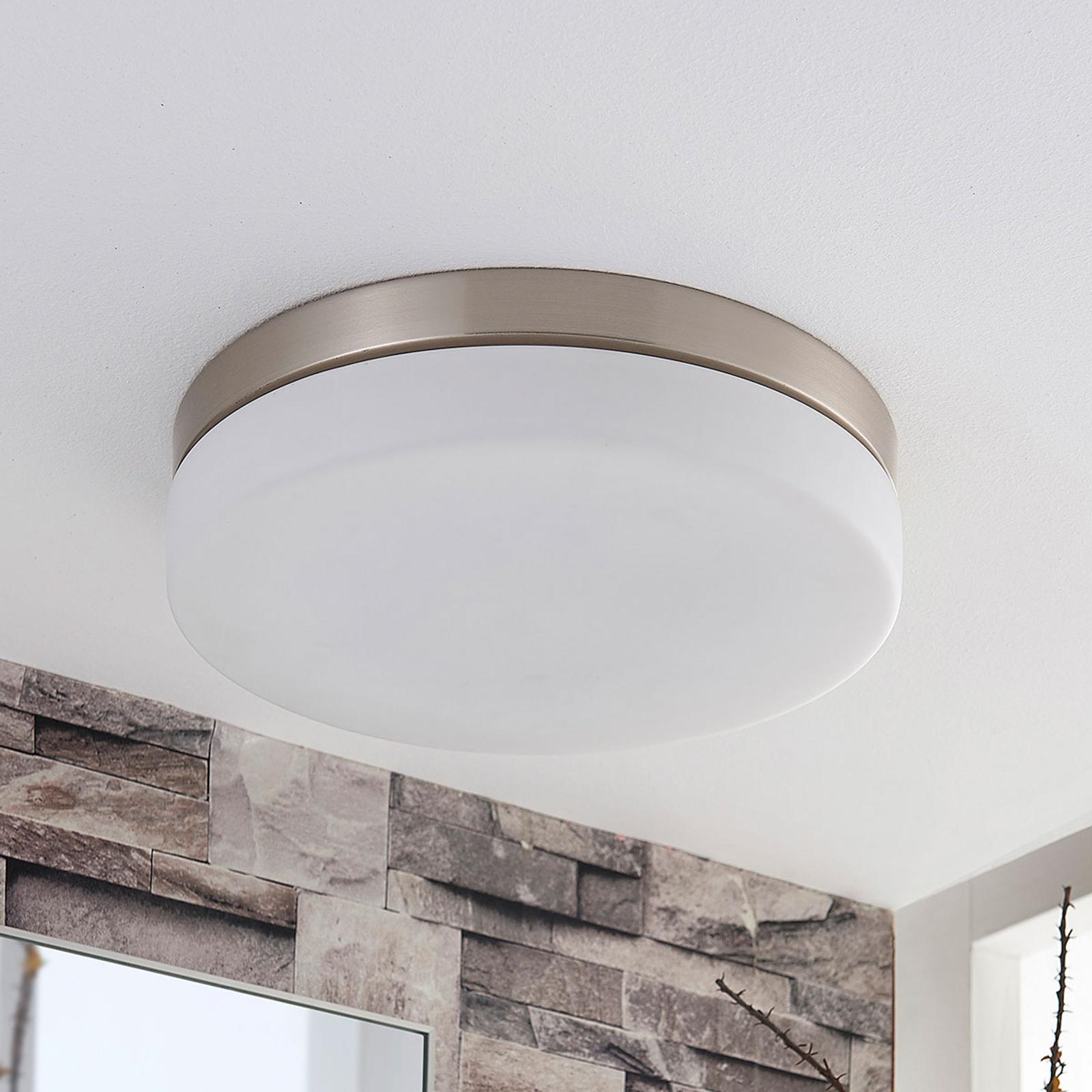 Bílá stropní lampa Amilia s niklovým rámem, IP44
