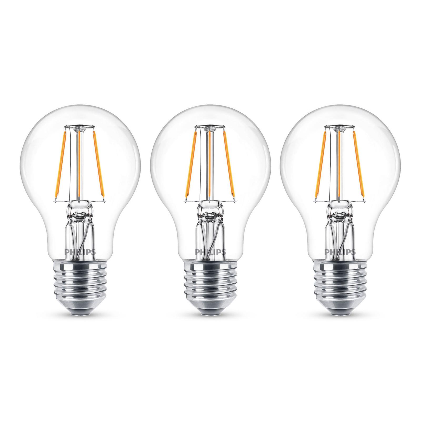 Philips LED-pære Classic E27 4,3W 2700K klar 3er