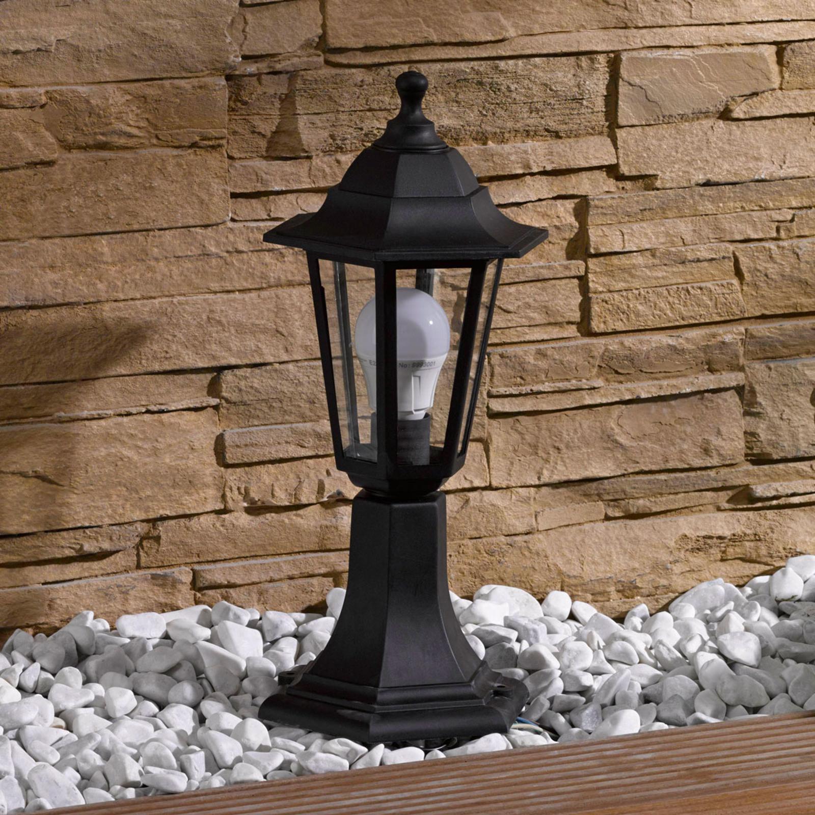 Sokkellampe Nane lyktlignende form, svart