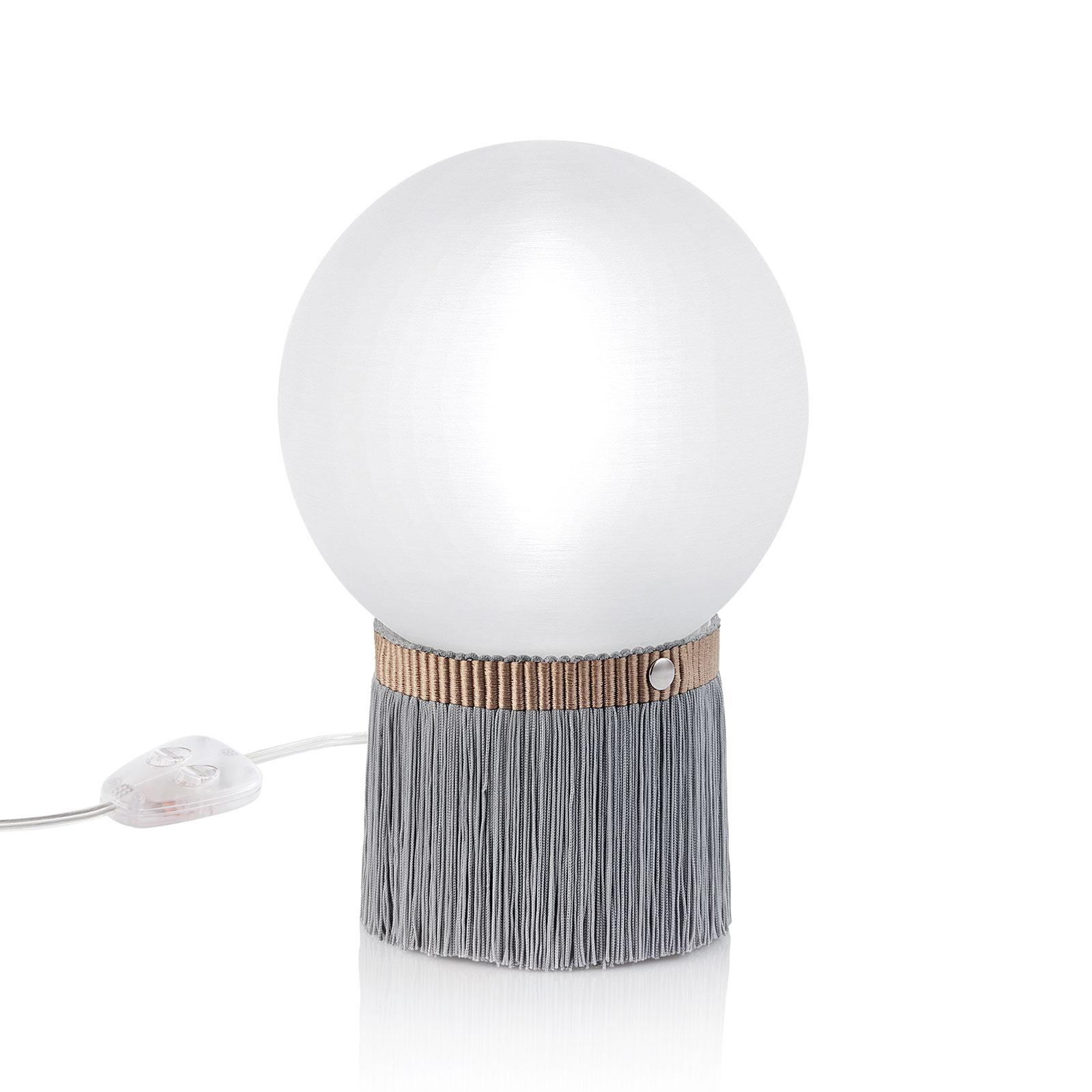 Slamp Atmosfera tafellamp Fringe, Ø 20 cm, grijs