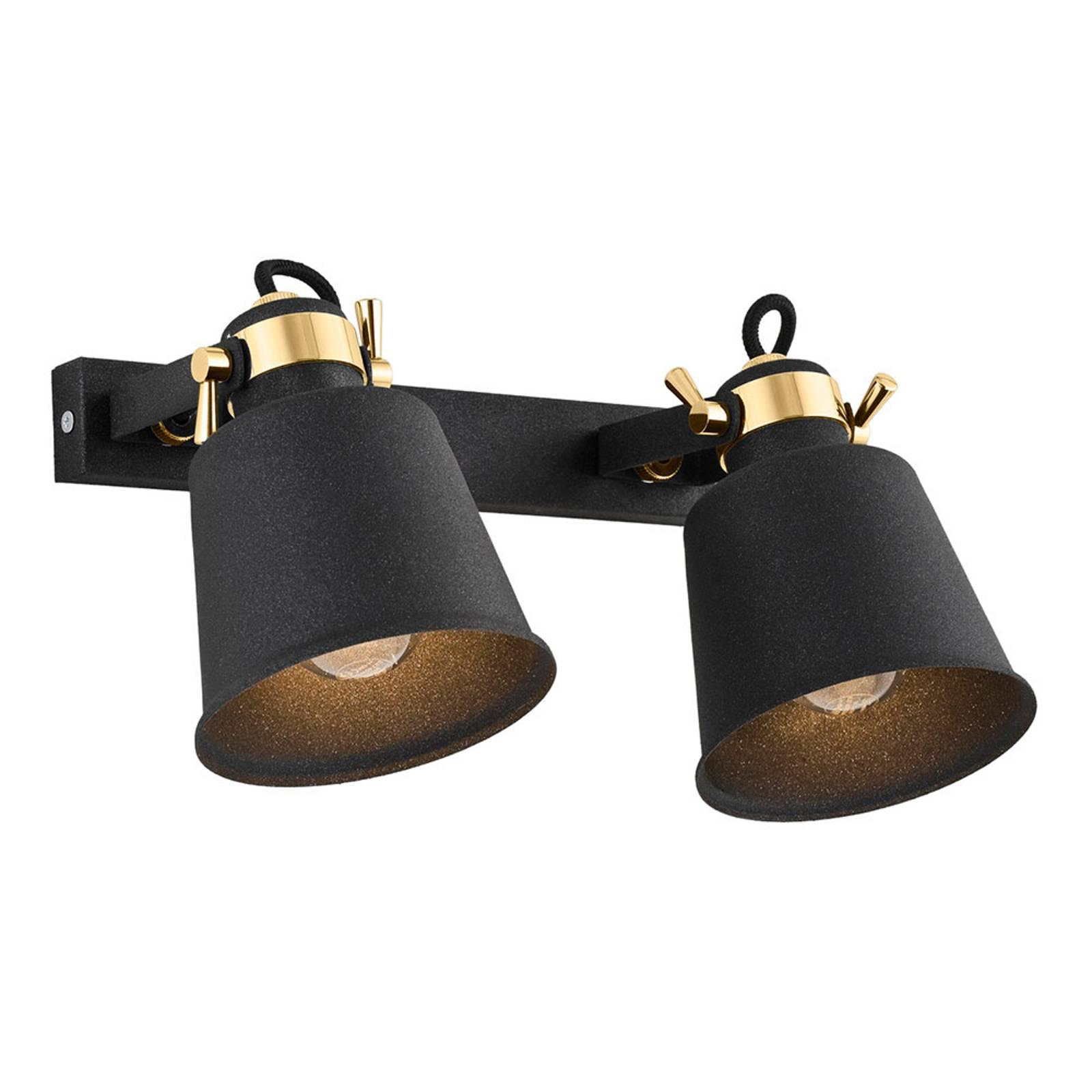 Faretto da parete Kerava, 2 luci, nero/ottone