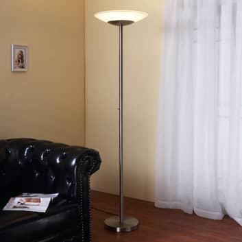 Lámpara LED de pie Ragna, atenuador, níquel mate