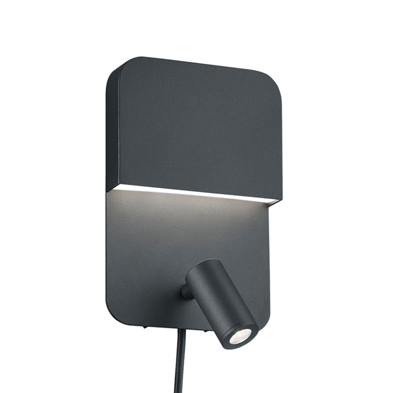 Matowo czarny kinkiet LED Luigi – 2 przełączniki