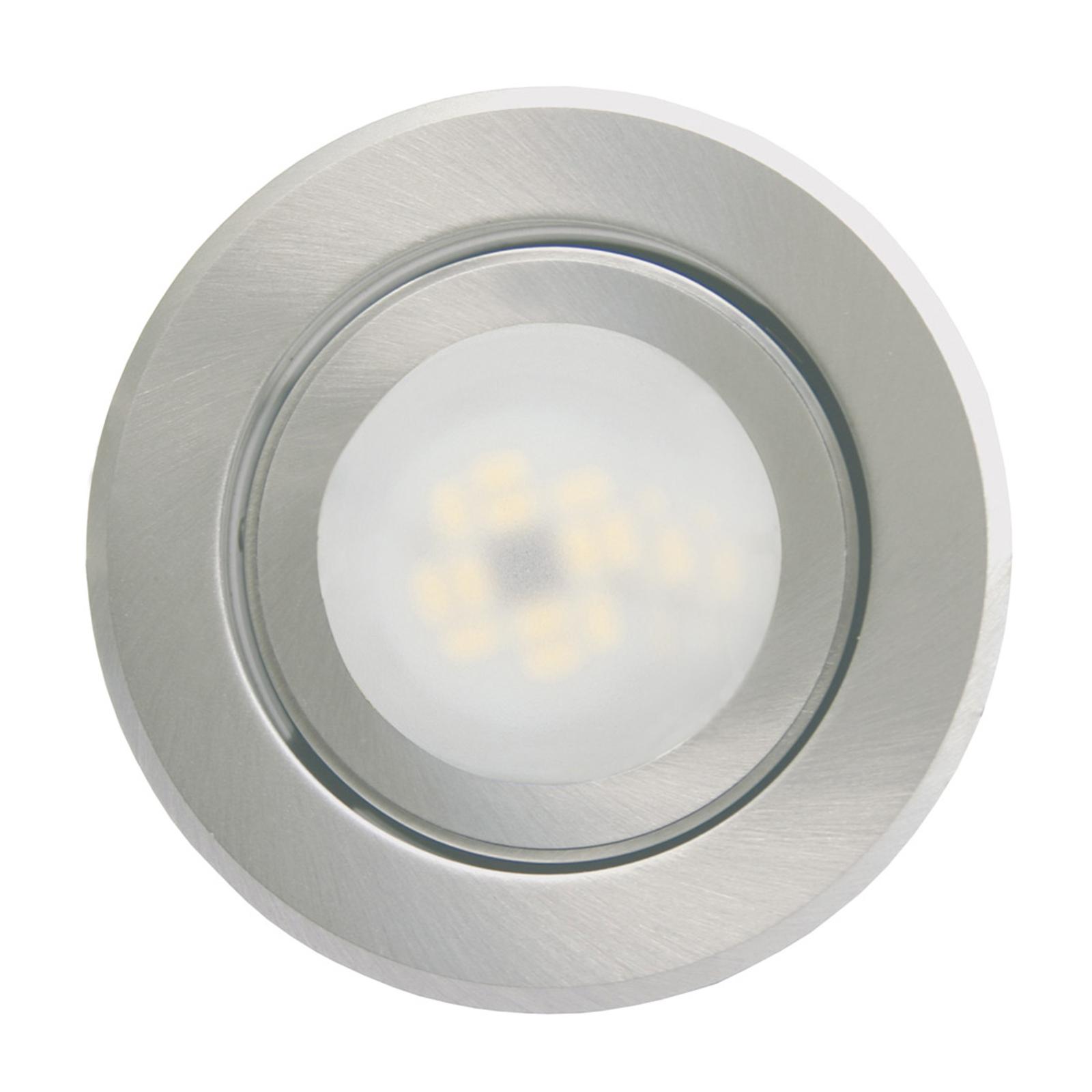 Lámpara empotrada Joanie, LED, aluminio cepillado
