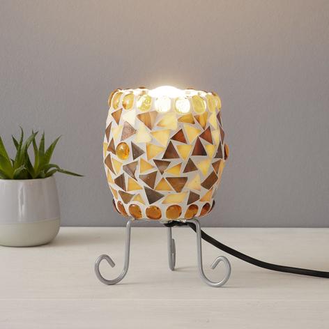 Lámpara de mesa Enya, mosaico vidrio crema-marrón