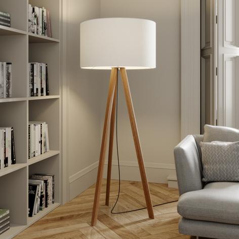 Lampa stojąca Makira na 3 nogach z kloszem, dąb