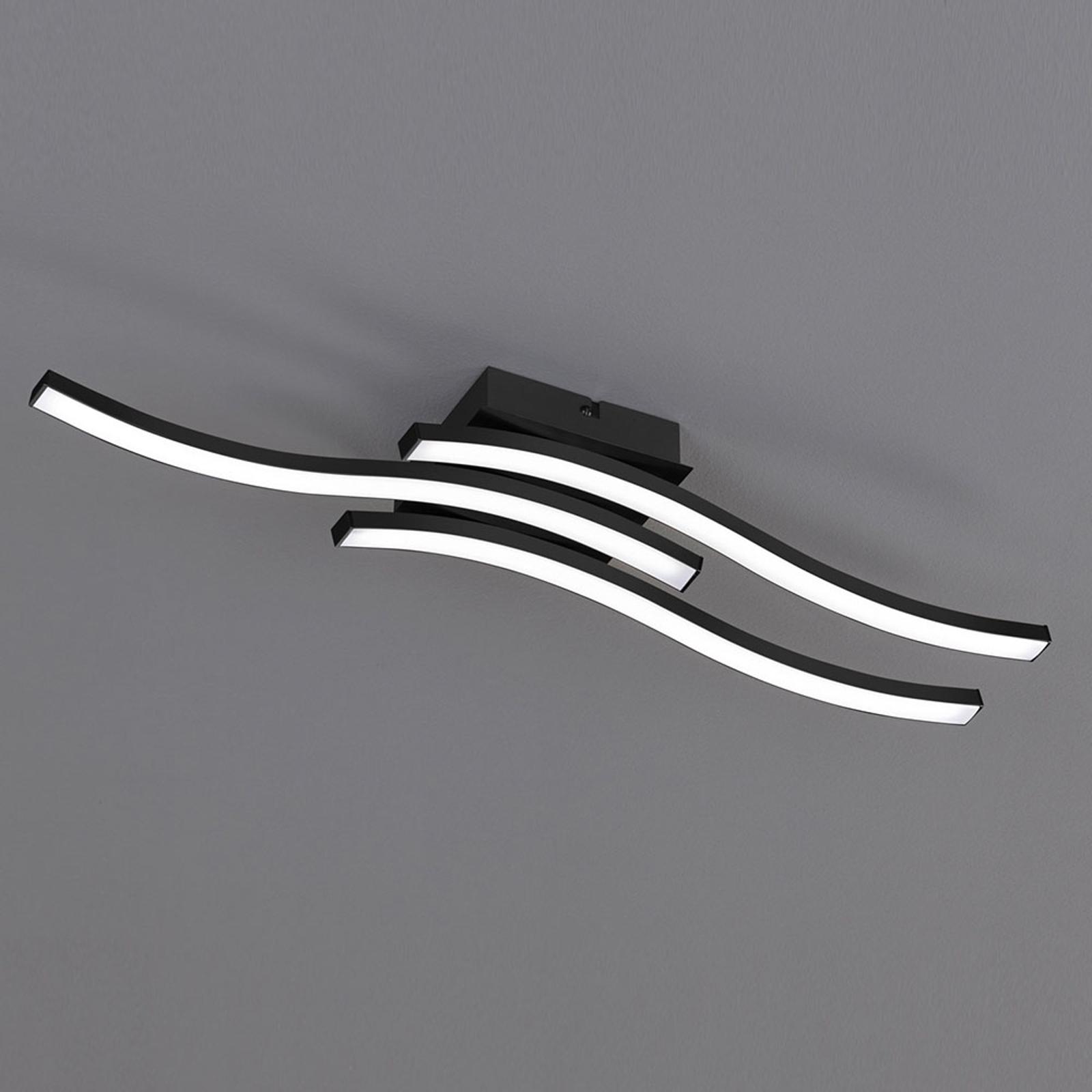 LED-taklampe Route i svart, 3 lyskilder