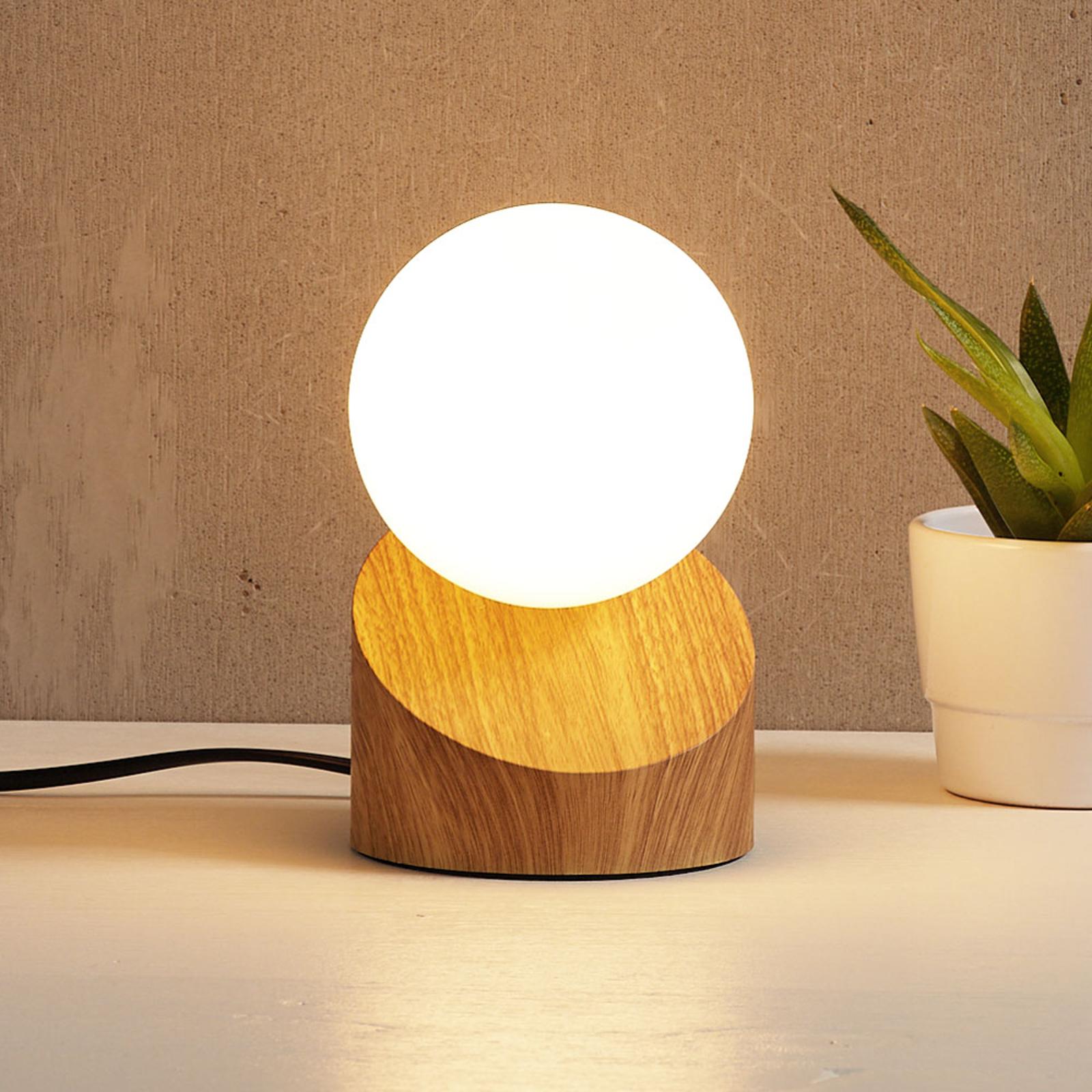 Lámpara de mesa LED Alisa, soporte óptica madera