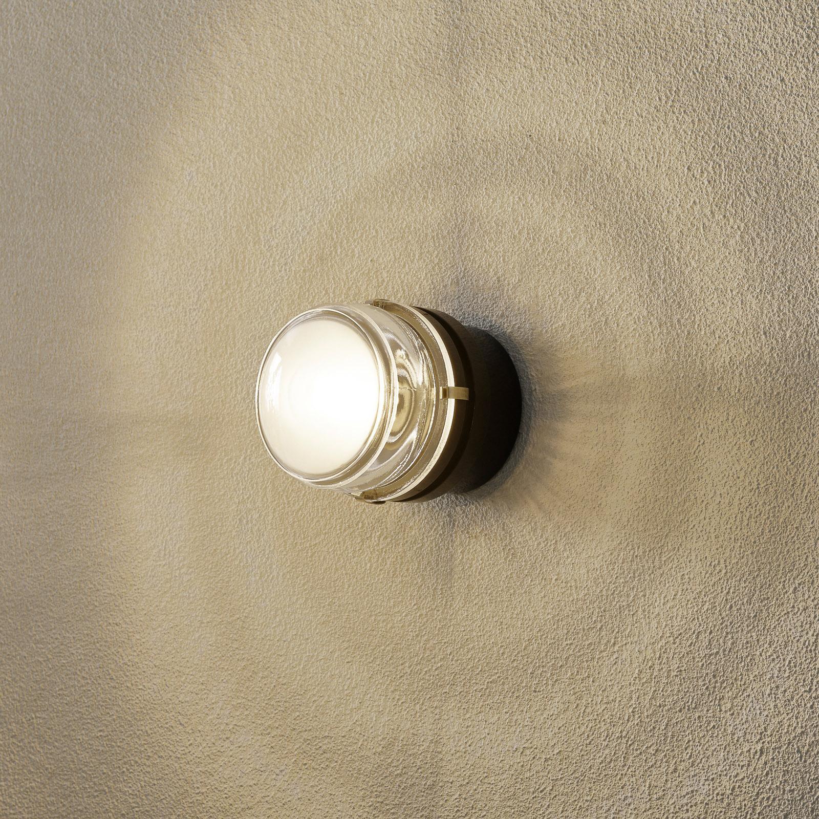 Oluce Fresnel - vägglampa med glaslins IP44 svart