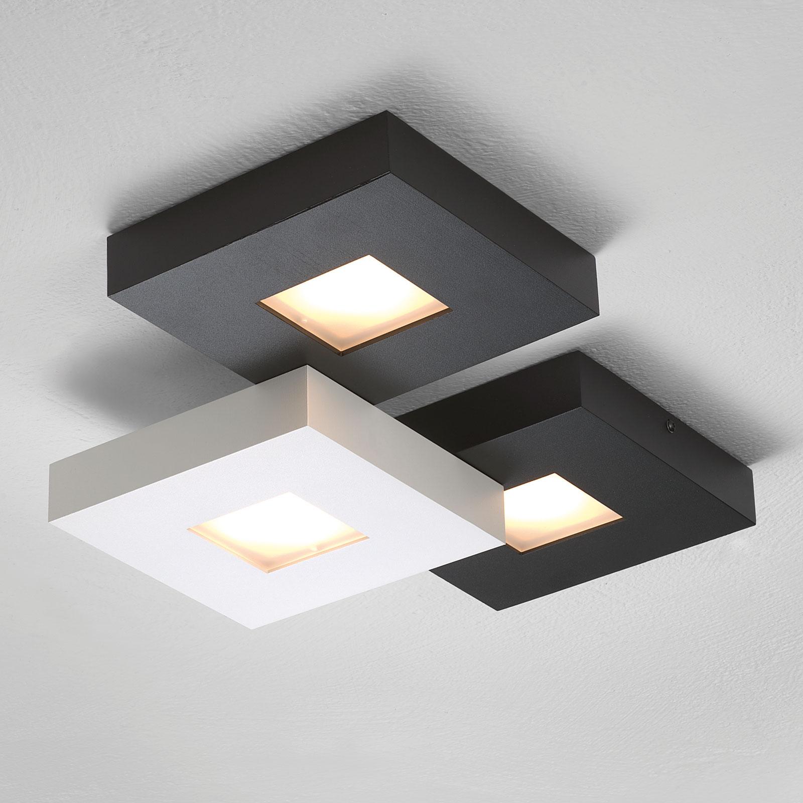 3-lamppuinen LED-kattovalaisin Cubus, mustavalk.