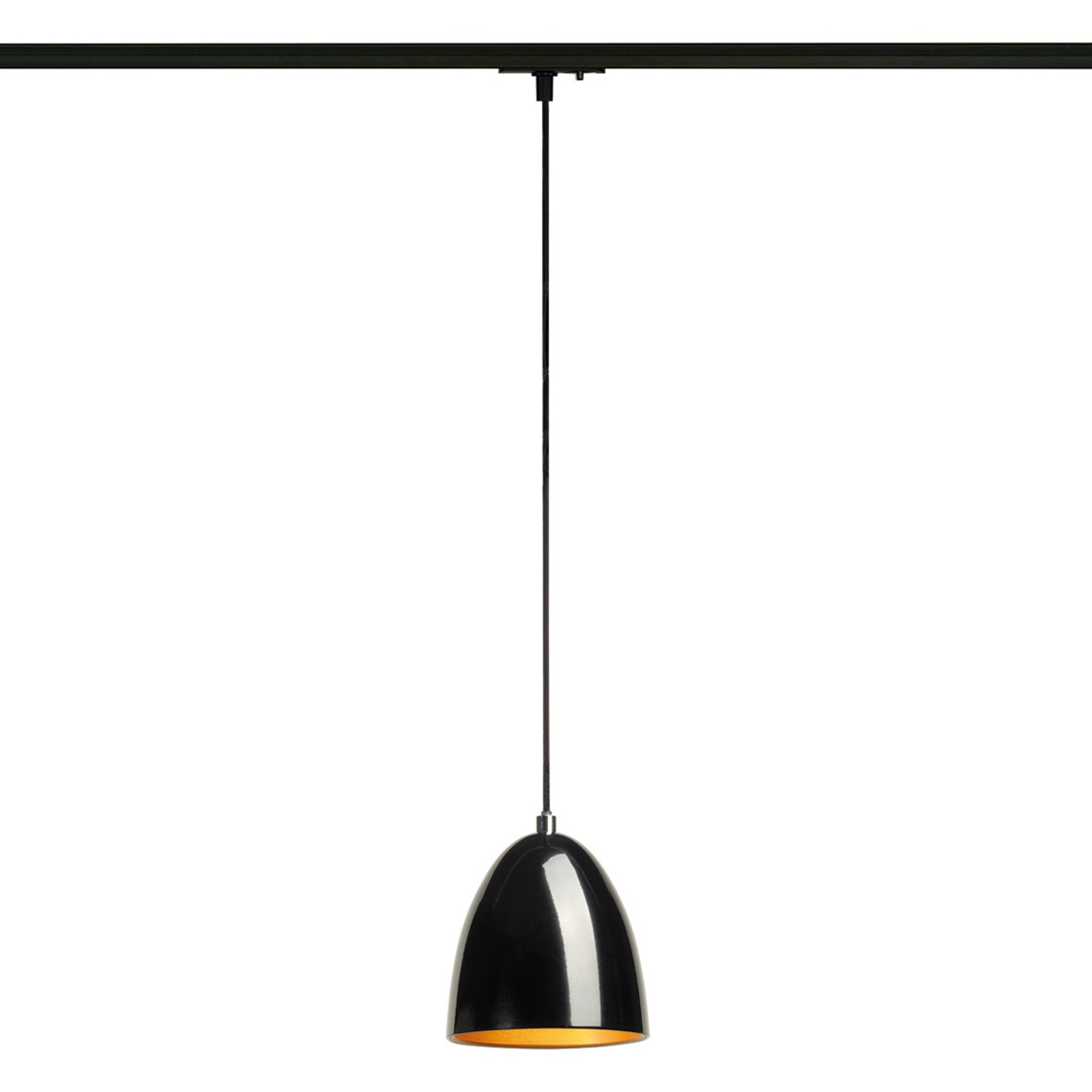 Zwarte- gouden hanglamp Para Cone v. 1-f. rail