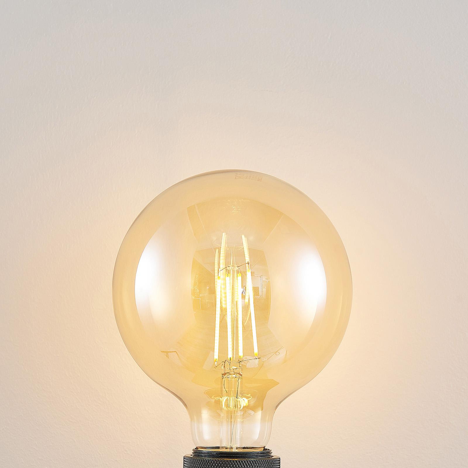 E27 LED-pære G125 6,5 W 2.500K ravgul 3-trinsdæmp.