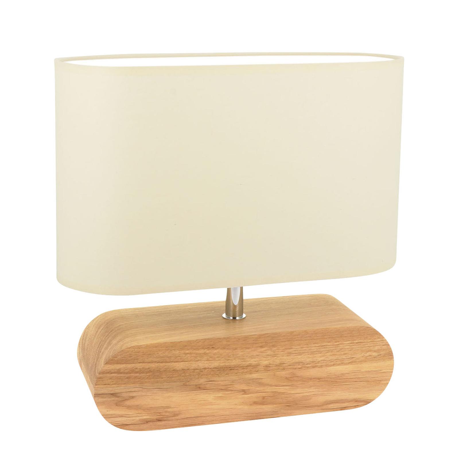 Lámpara de mesa Marinna, pie roble, pantalla crudo
