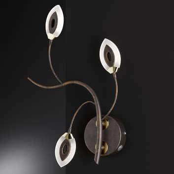 Floral ontworpen LED wandlamp Fellow, roestbruin
