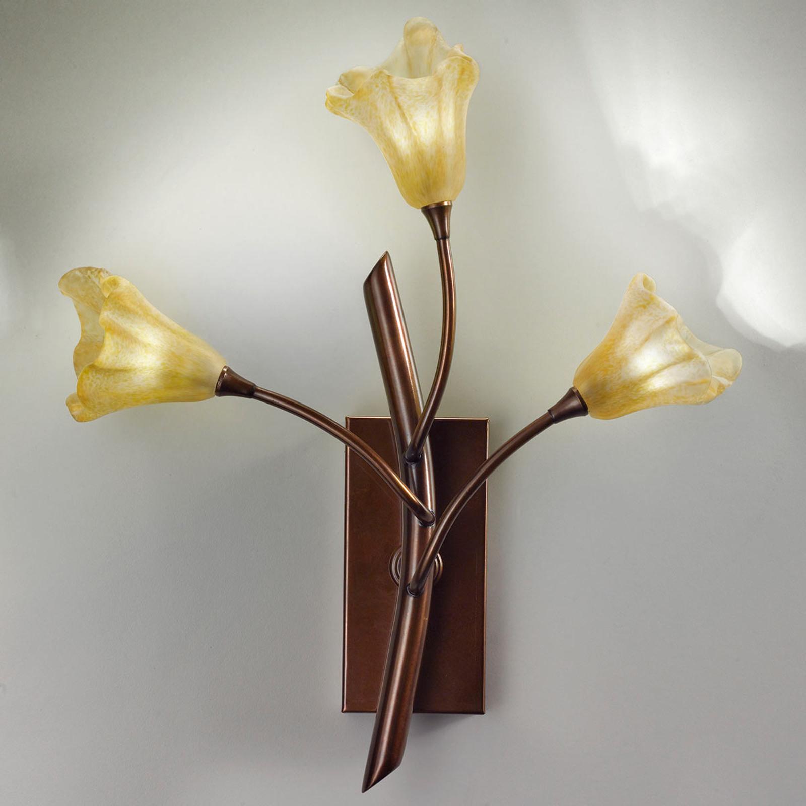Vegglampe 7142 3 lyskilder, messing brunert / rav