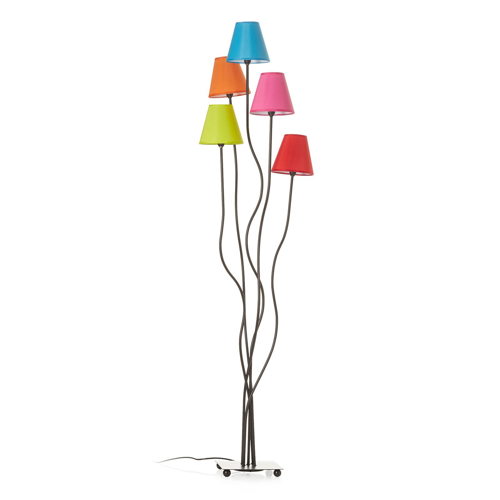 Tekstylna lampa stojąca Colori, 5-punktowa, kolory