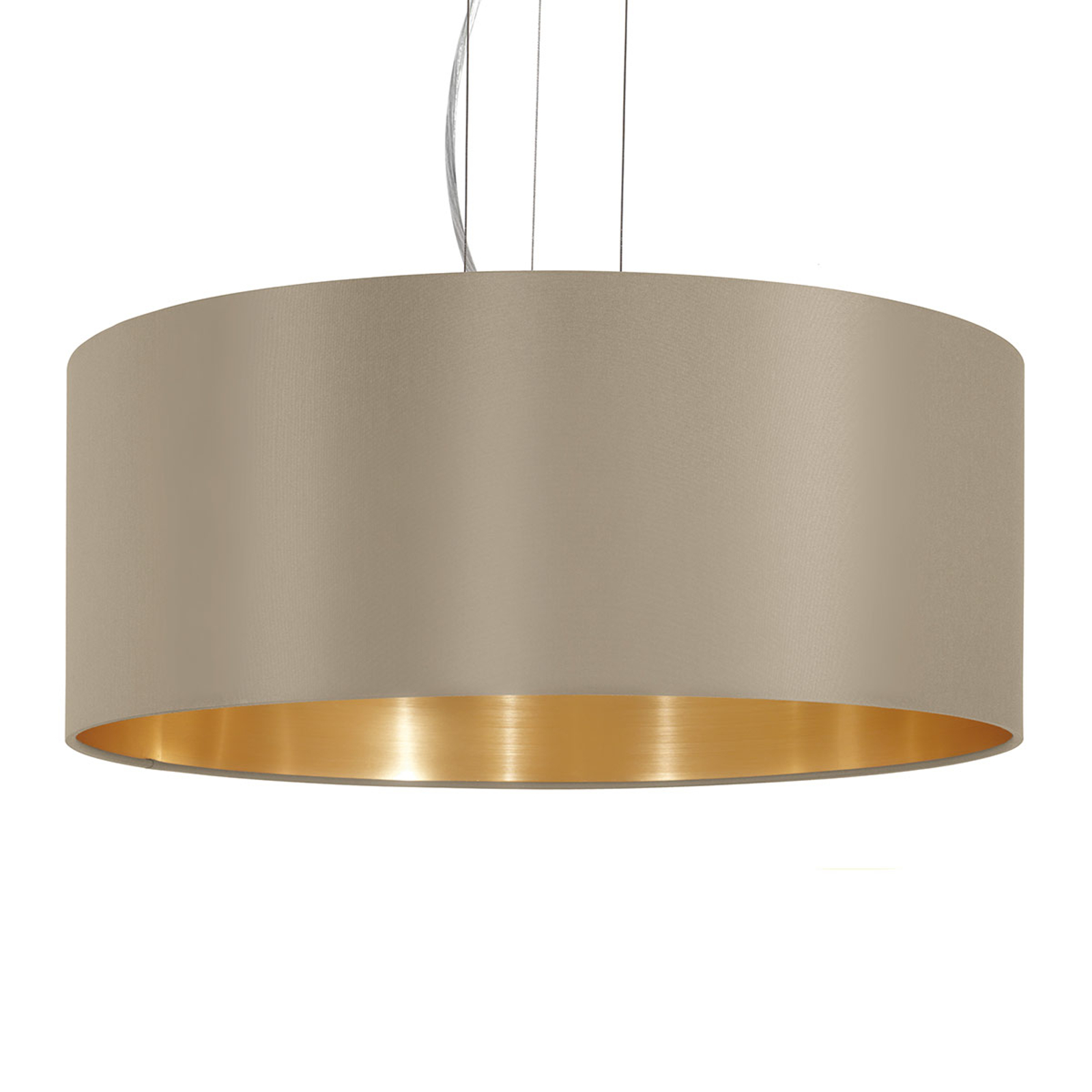 Lampa wisząca Maserlo okrągła, taupe-złota