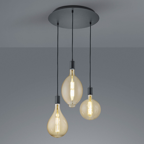 LED hanglamp Ginster mat zwart rond