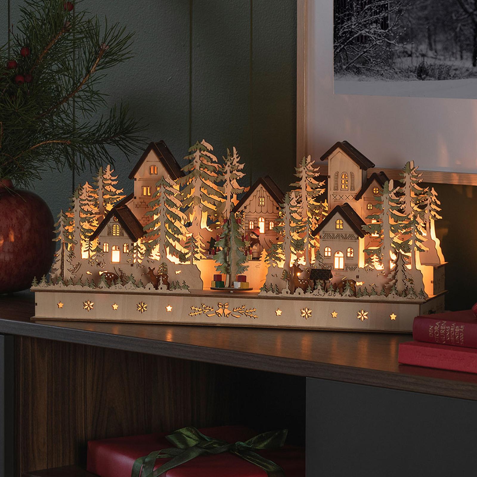 Hus og figurer LED-adventsstage