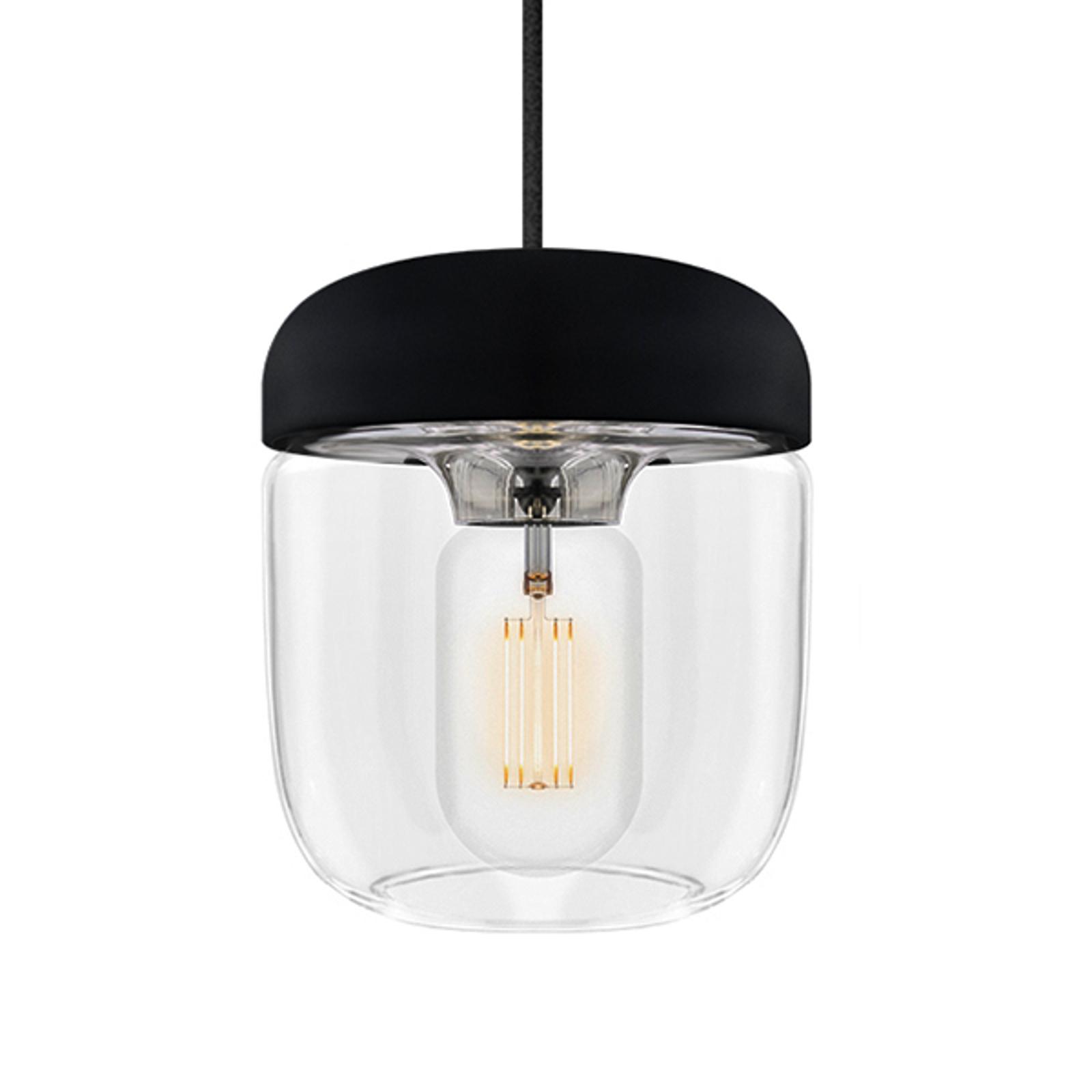Designerska lampa wisząca Acorn, czarny i stalowy