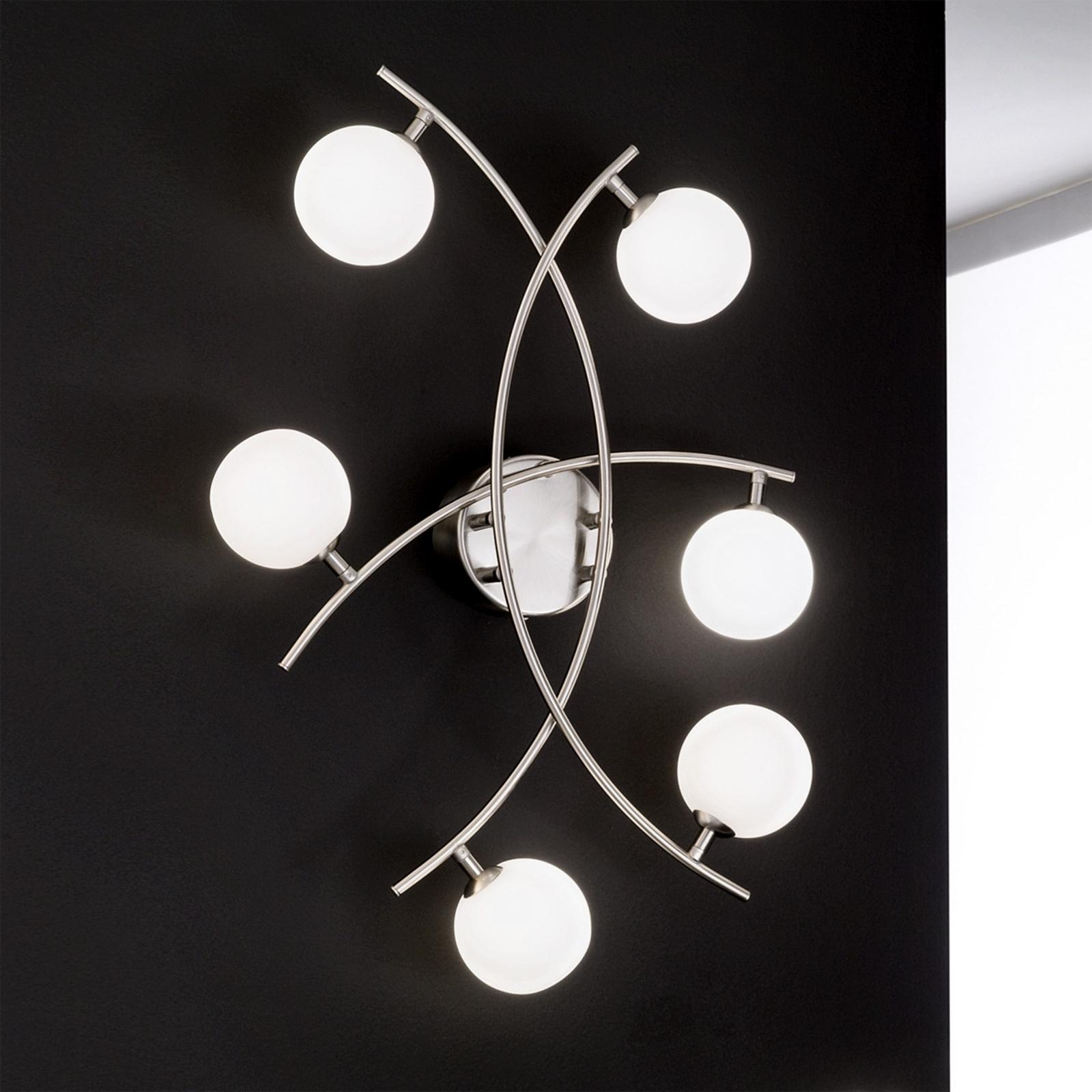 Plafonnier exceptionnel à 6 lampes Pelota