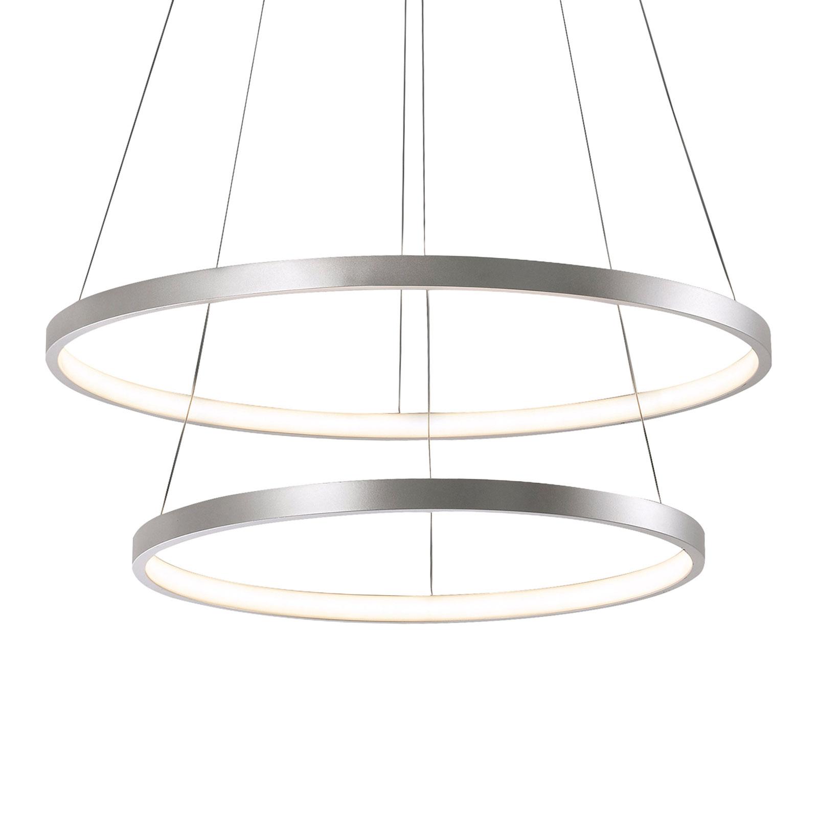 LED-hengelampe Circle sølv, 2 lyskilder