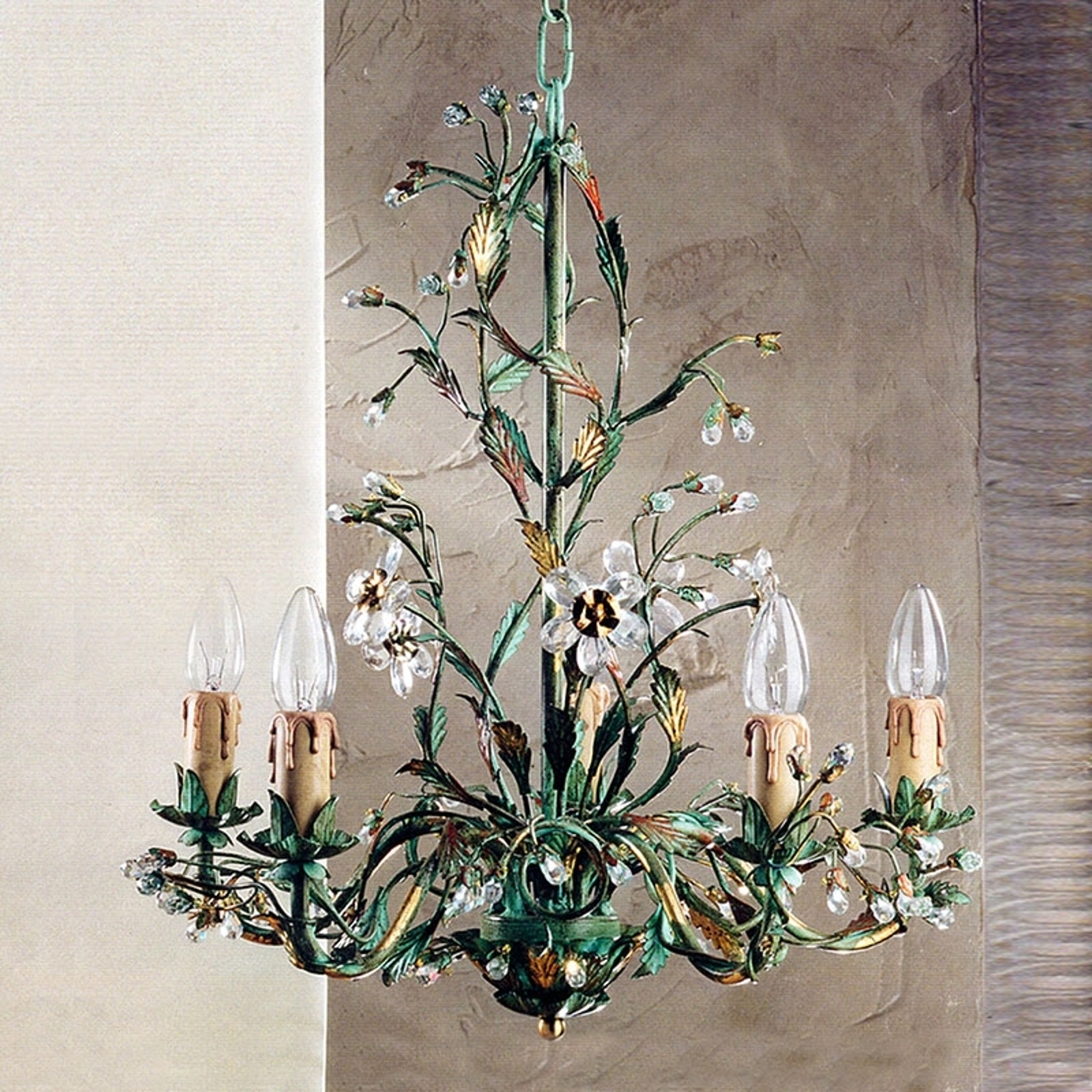 Zielony żyrandol w stylu florentyńskim FRANCESCA
