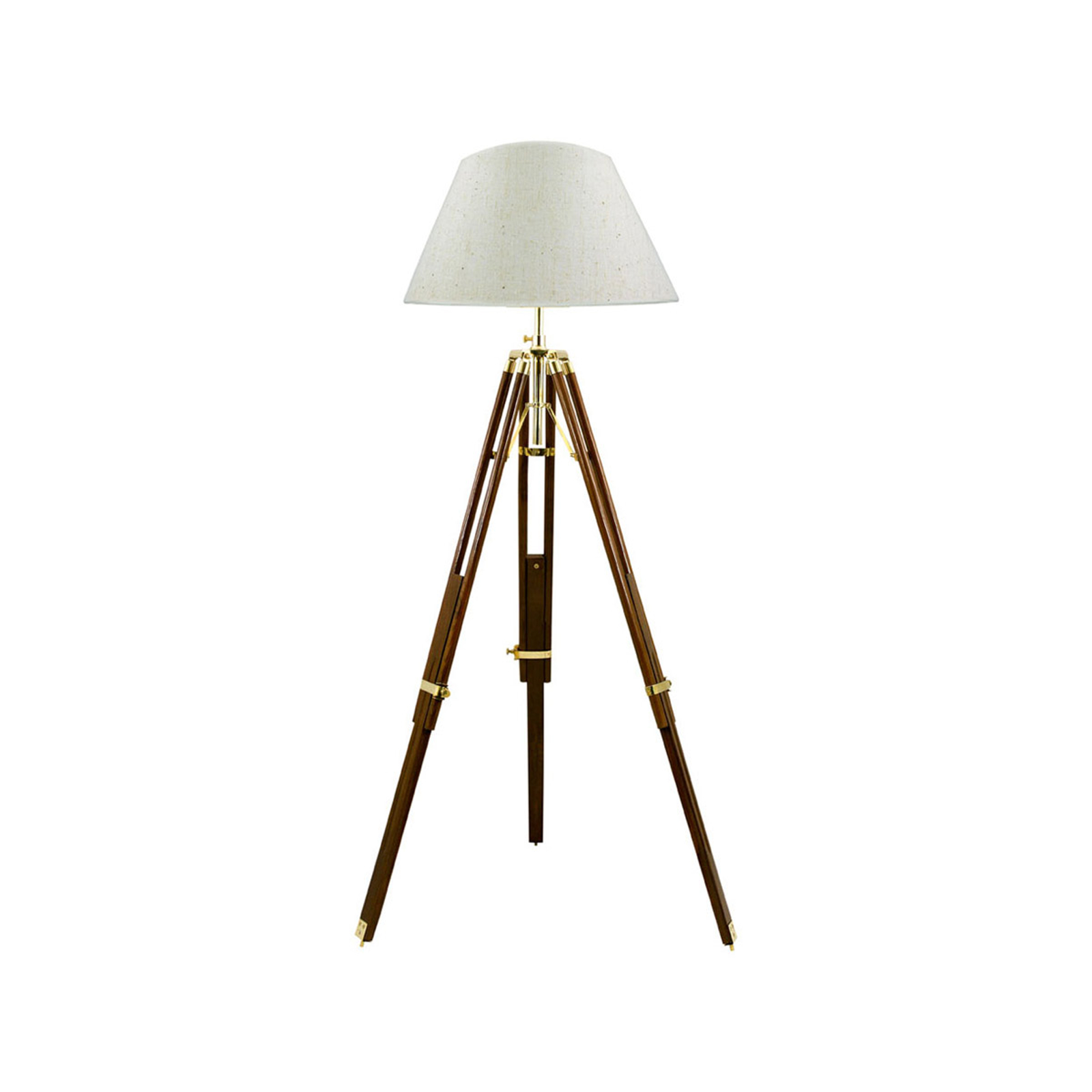 Stativ trebenet gulvlampe, juteskærm, 50 cm, creme