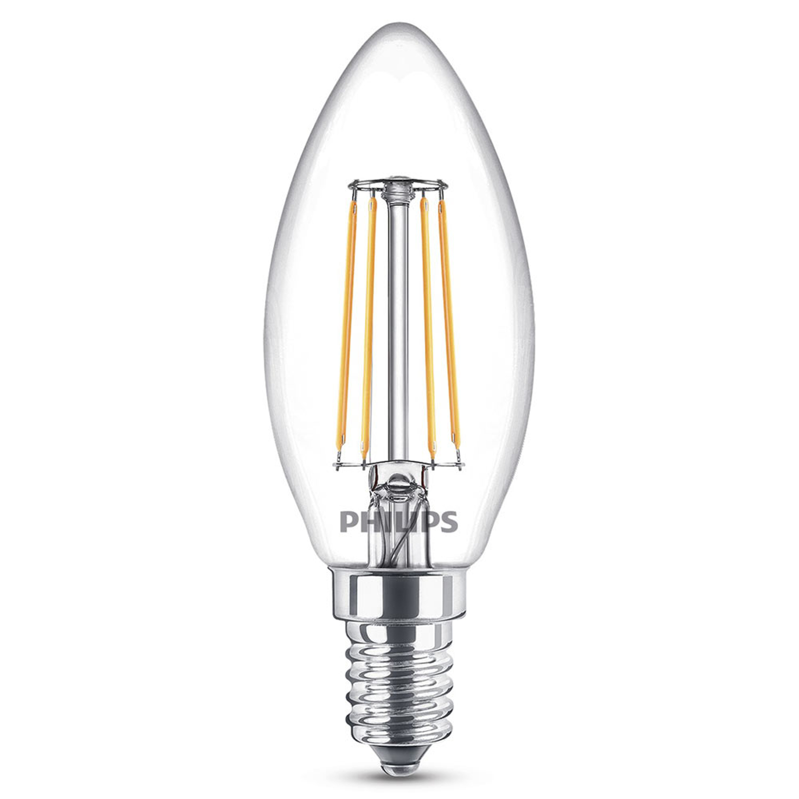 Philips E14 LED-Kerzenlampe 4,3W warmweiß Filament