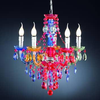 Lámpara de araña Perdita, 5 bombillas, multicolor