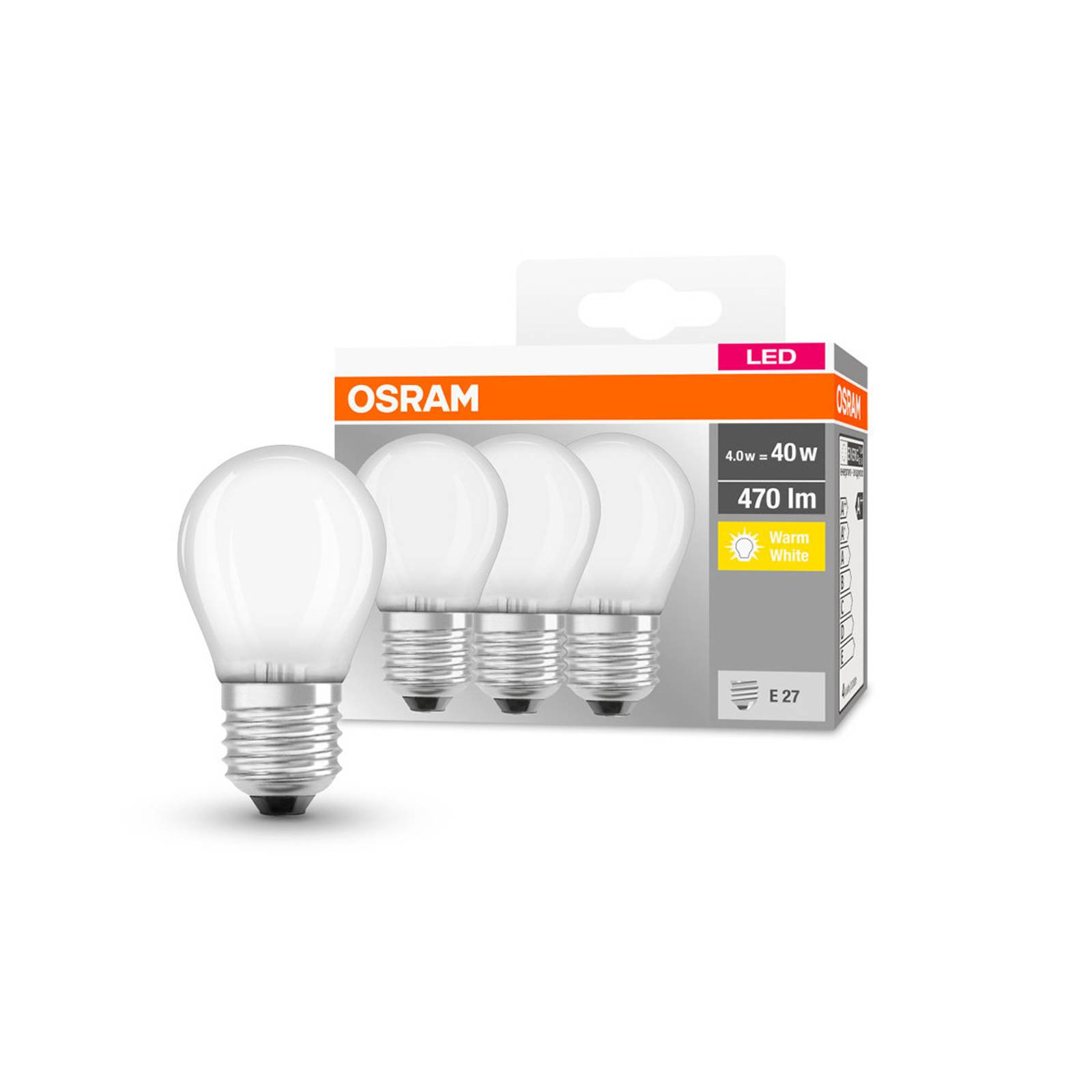 OSRAM LED goccia E27 P40 4W 2.700K 470lm satin 3x